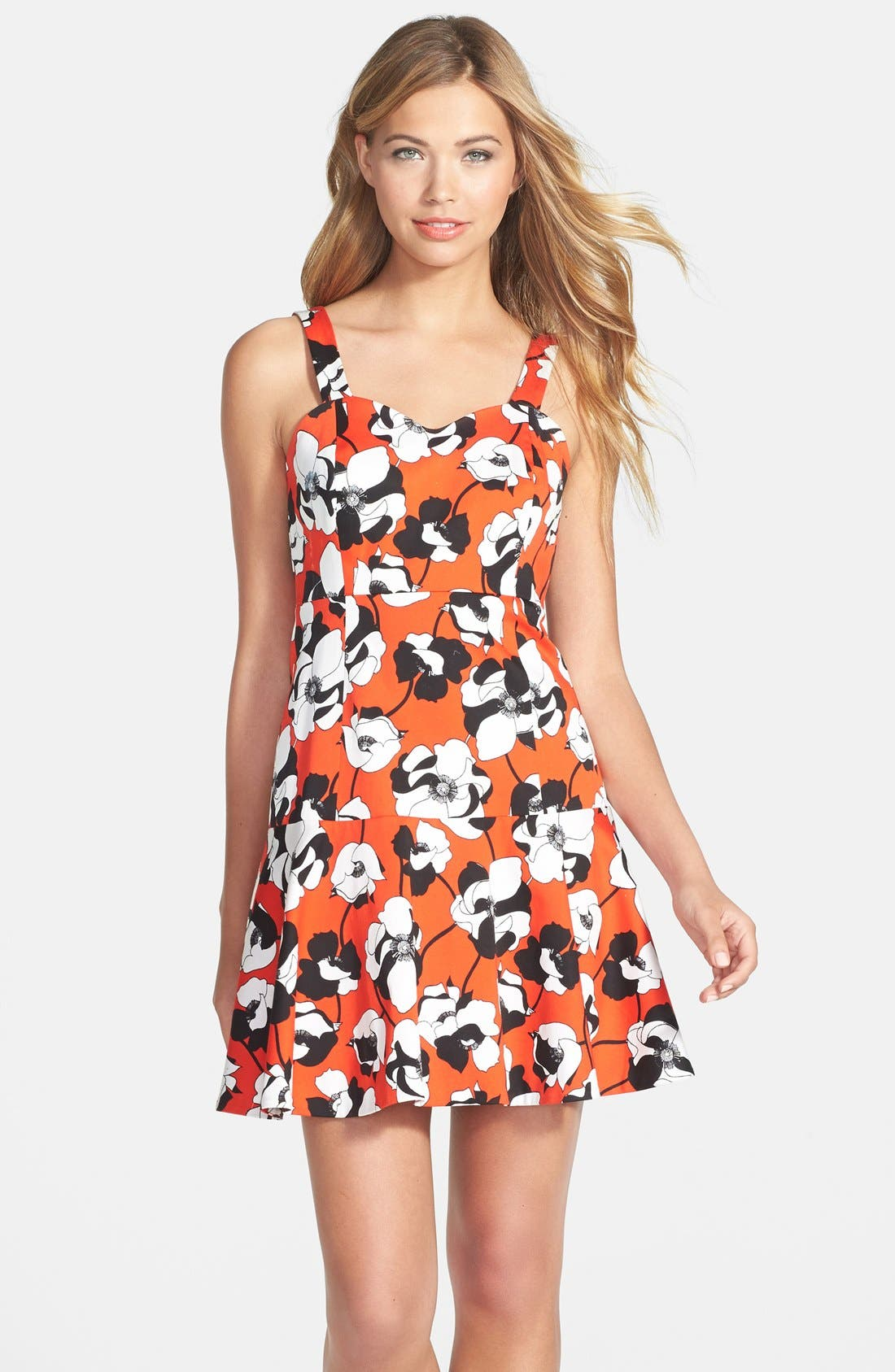 Main Image - CeCe by Cynthia Steffe Print Stretch Cotton Fit & Flare Dress