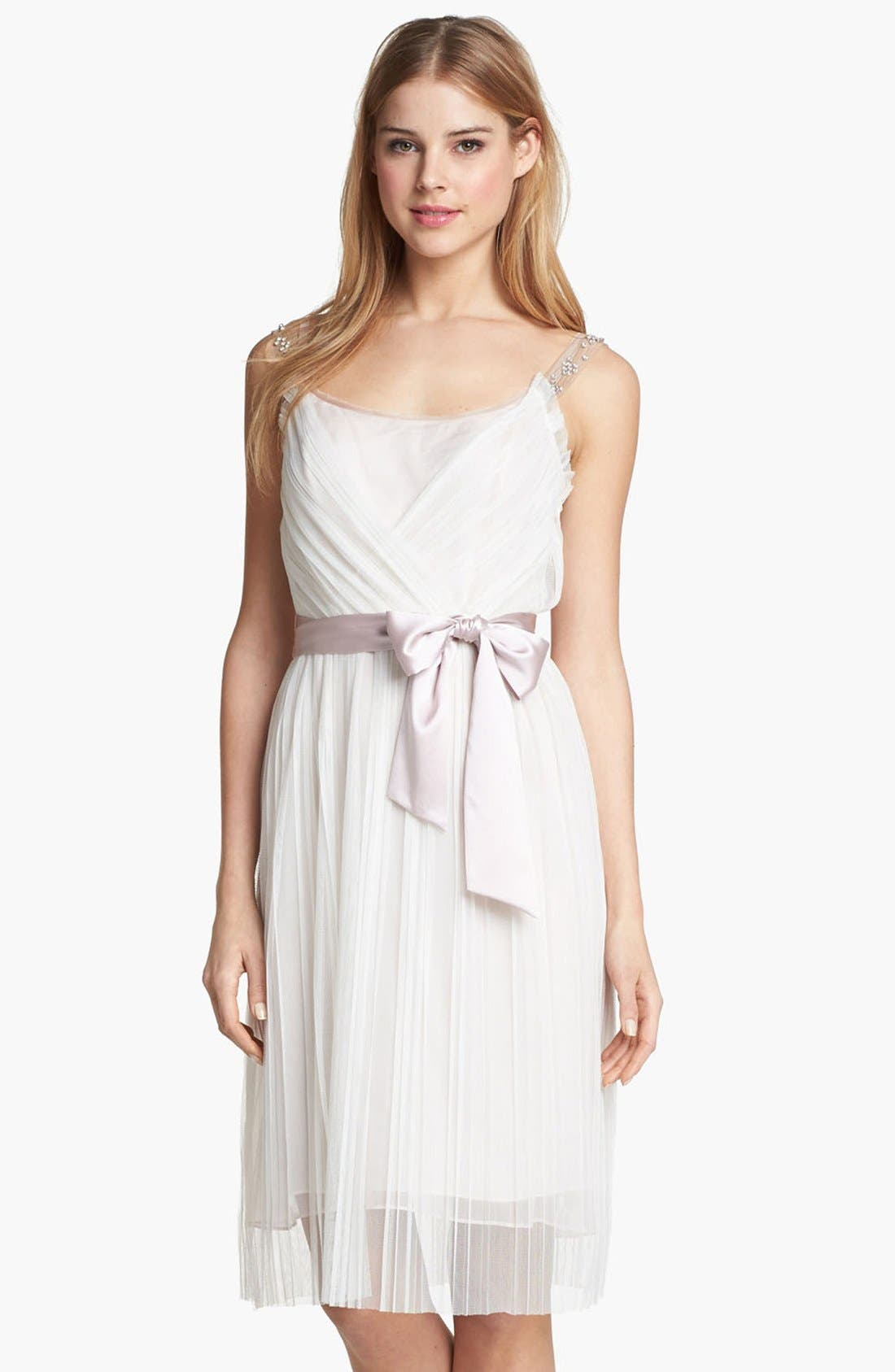 Alternate Image 1 Selected - Ivy & Blu Embellished Pleat Chiffon Dress (Online Only)