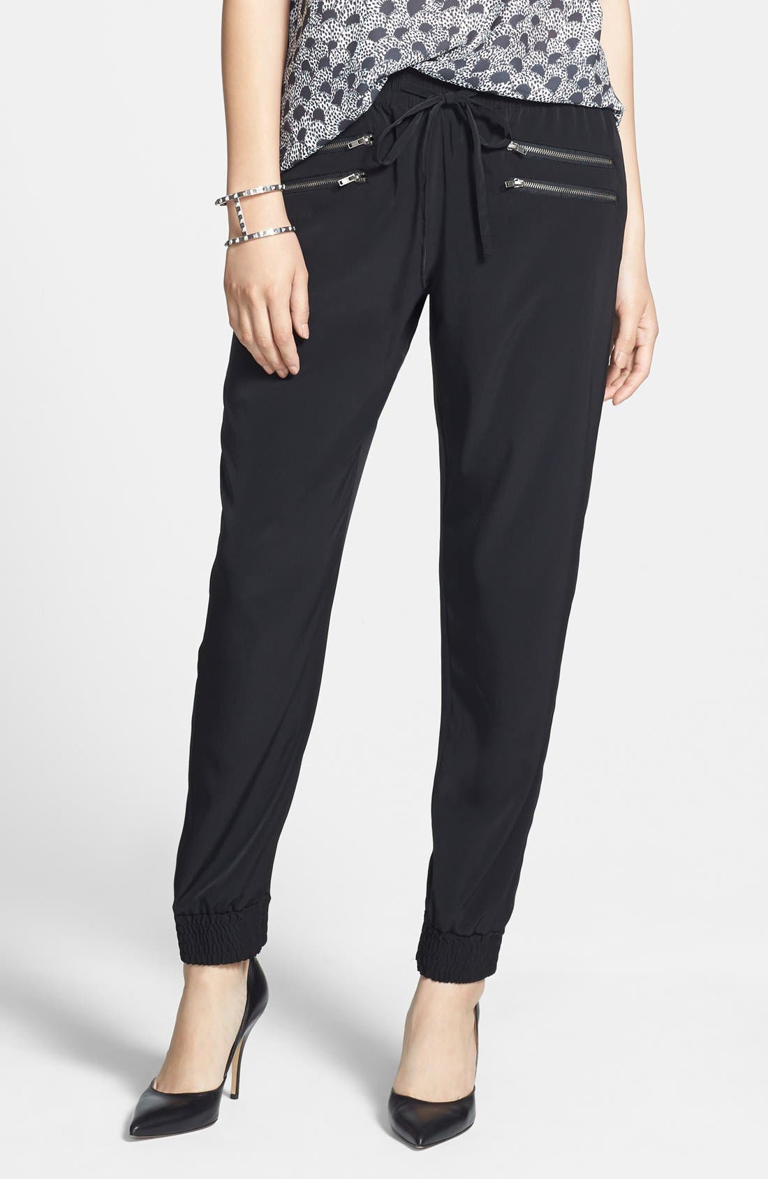 Main Image - Halogen® Zip Detail Track Pants (Regular & Petite) (Online Only)
