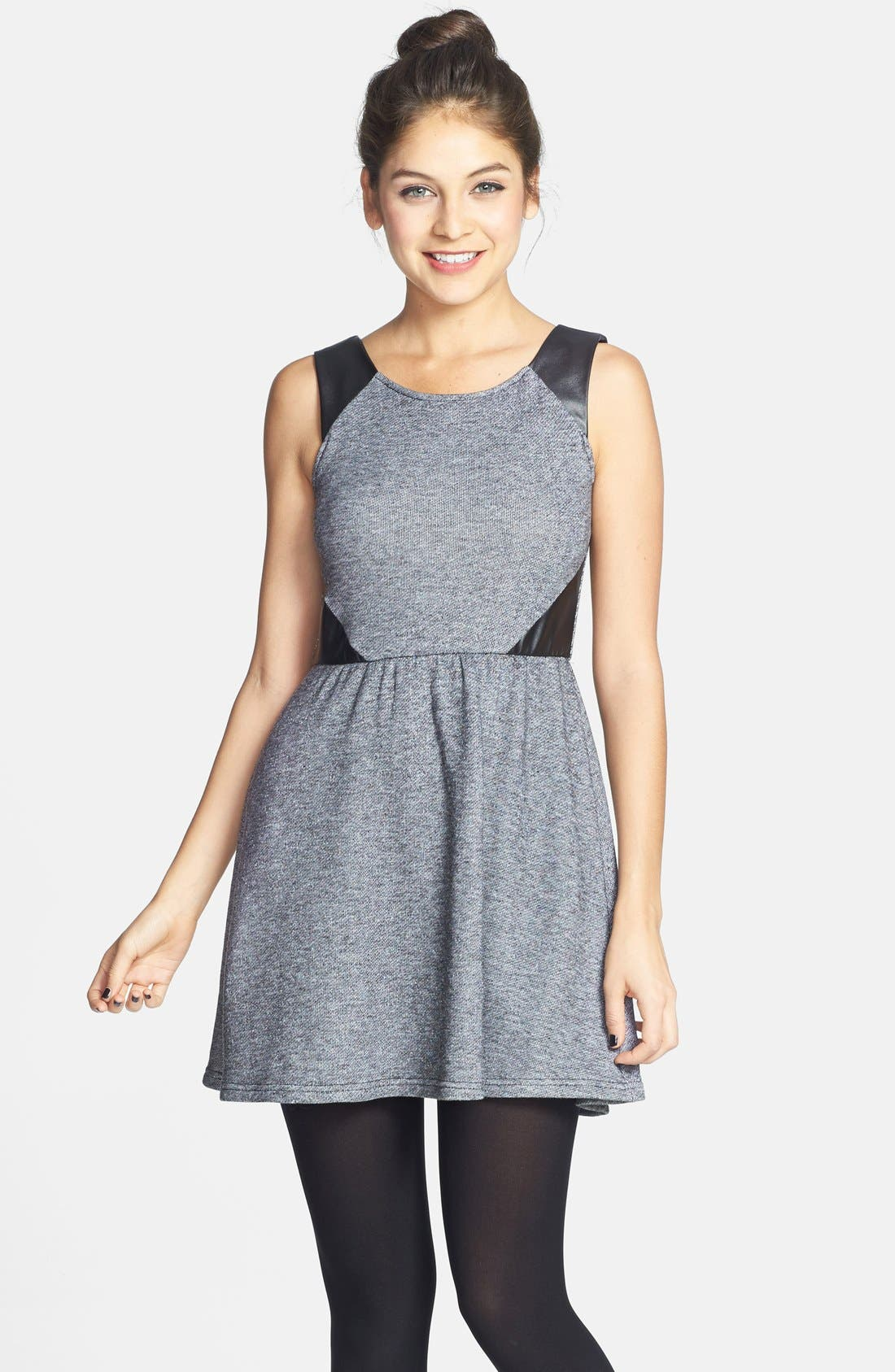 Alternate Image 1 Selected - Socialite Faux Leather Insert Skater Dress (Juniors) (Online Only)