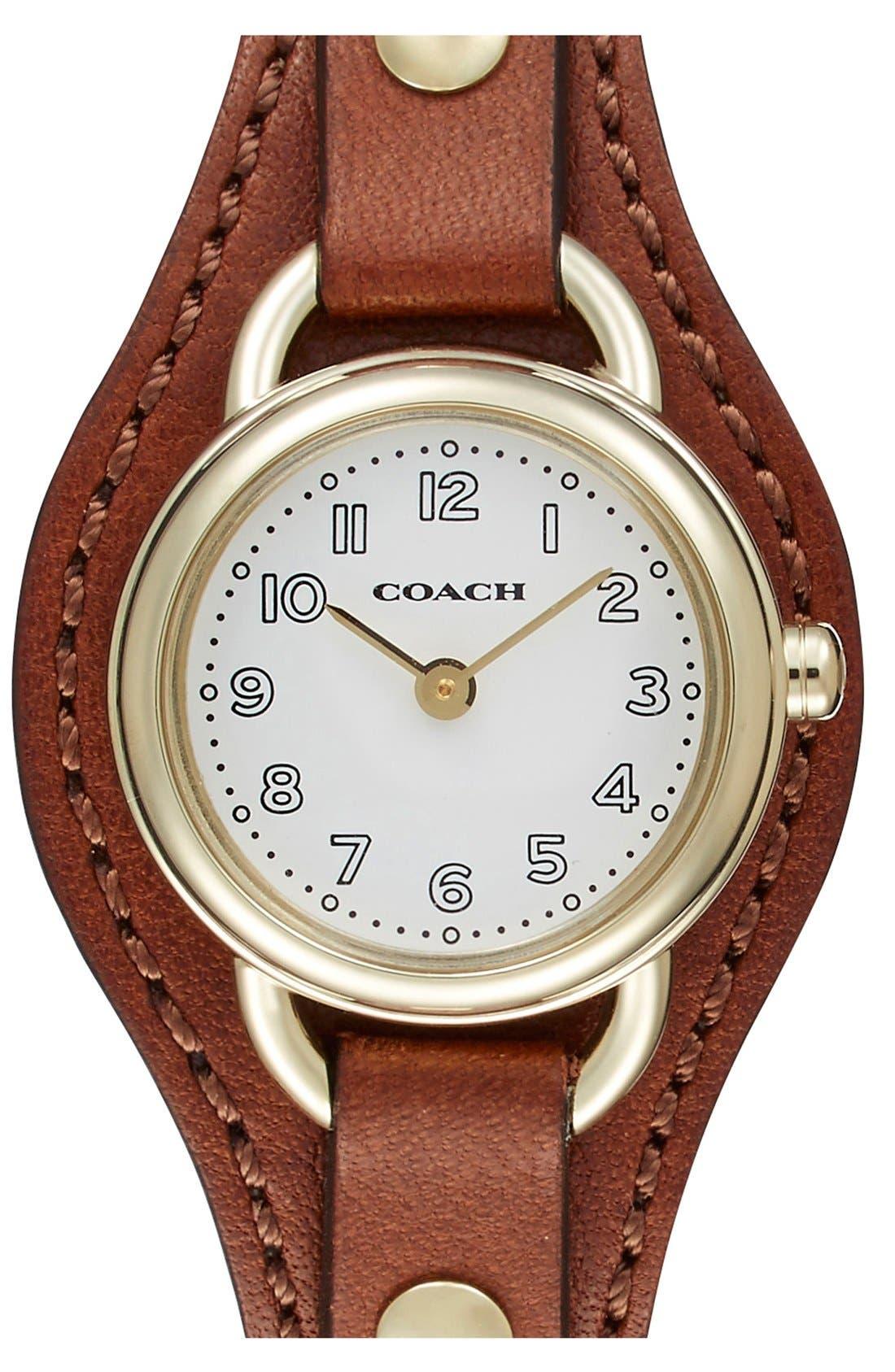 Main Image - COACH 'Dree' Leather Cuff Watch, 23mm