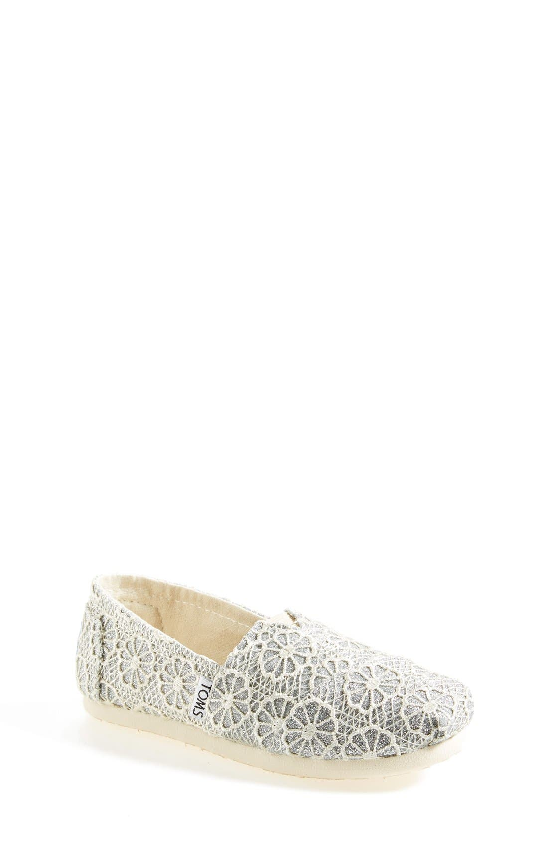 Main Image - TOMS 'Youth - Glitter' Crochet Slip-On (Toddler, Little Kid & Big Kid)