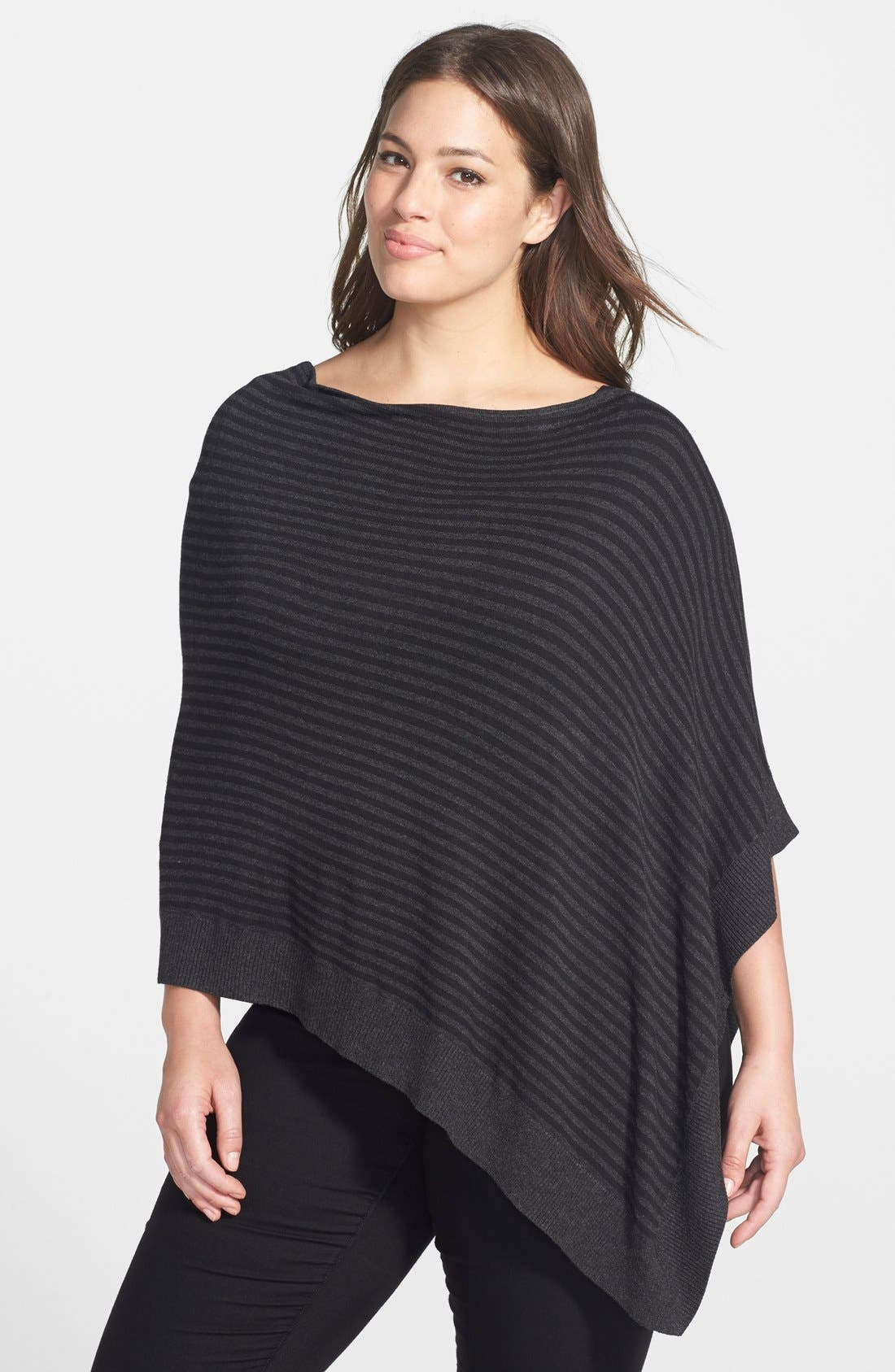 Main Image - Eileen Fisher Asymmetrical Stripe Knit Poncho (Plus Size)