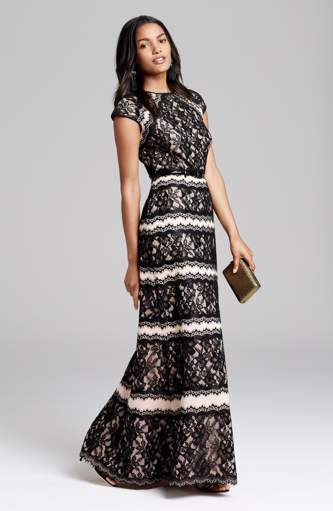 Alternate Image 4  - Tadashi Shoji Lace Embellished Neoprene Gown