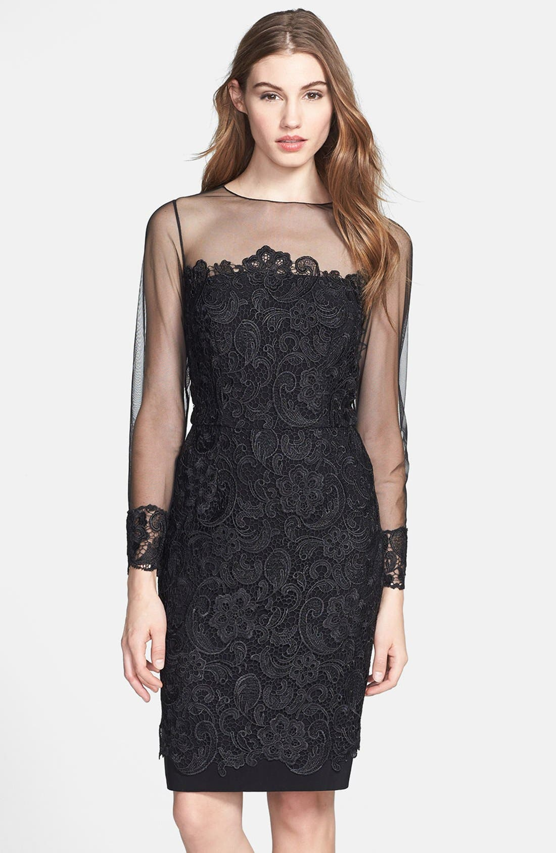 Alternate Image 1 Selected - Patra Illusion Yoke Lace Sheath Dress