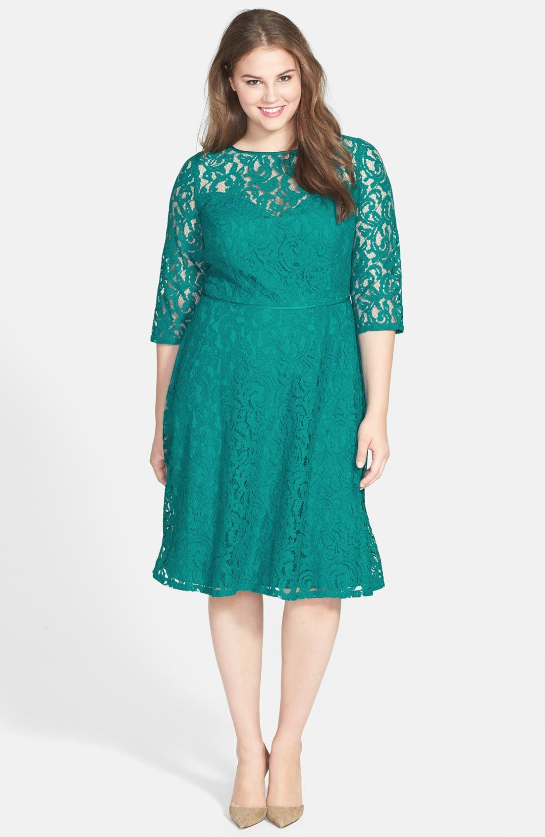 Alternate Image 1 Selected - Adrianna Papell Cutout Back Lace Fit & Flare Dress (Plus Size)