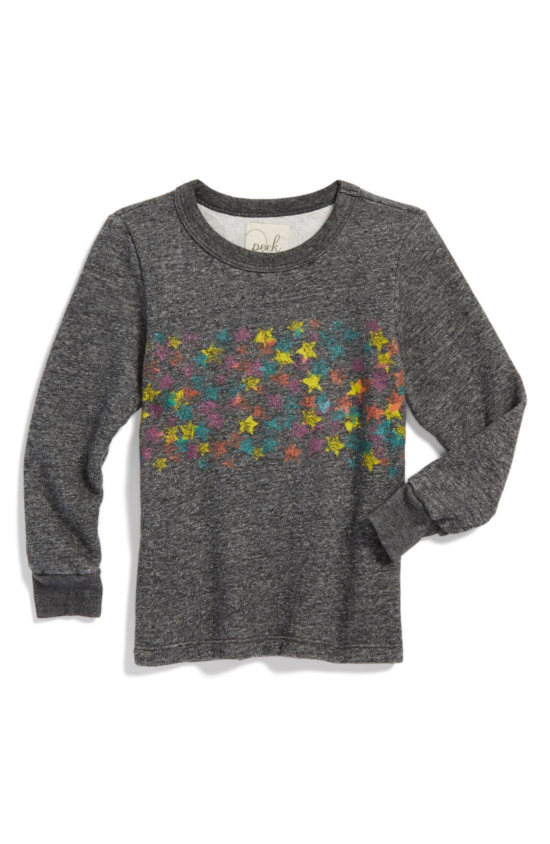 Alternate Image 1 Selected - Peek 'Star' Sweatshirt (Toddler Girls, Little Girls & Big Girls)