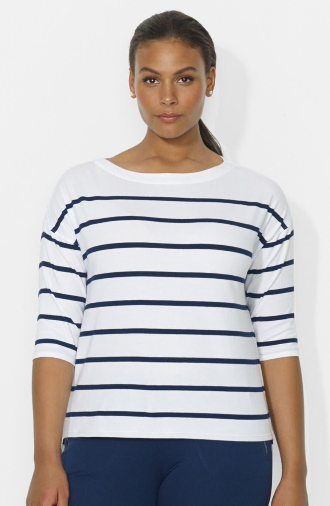 Alternate Image 1 Selected - Lauren Ralph Lauren Stripe Drop Shoulder Top (Plus Size)