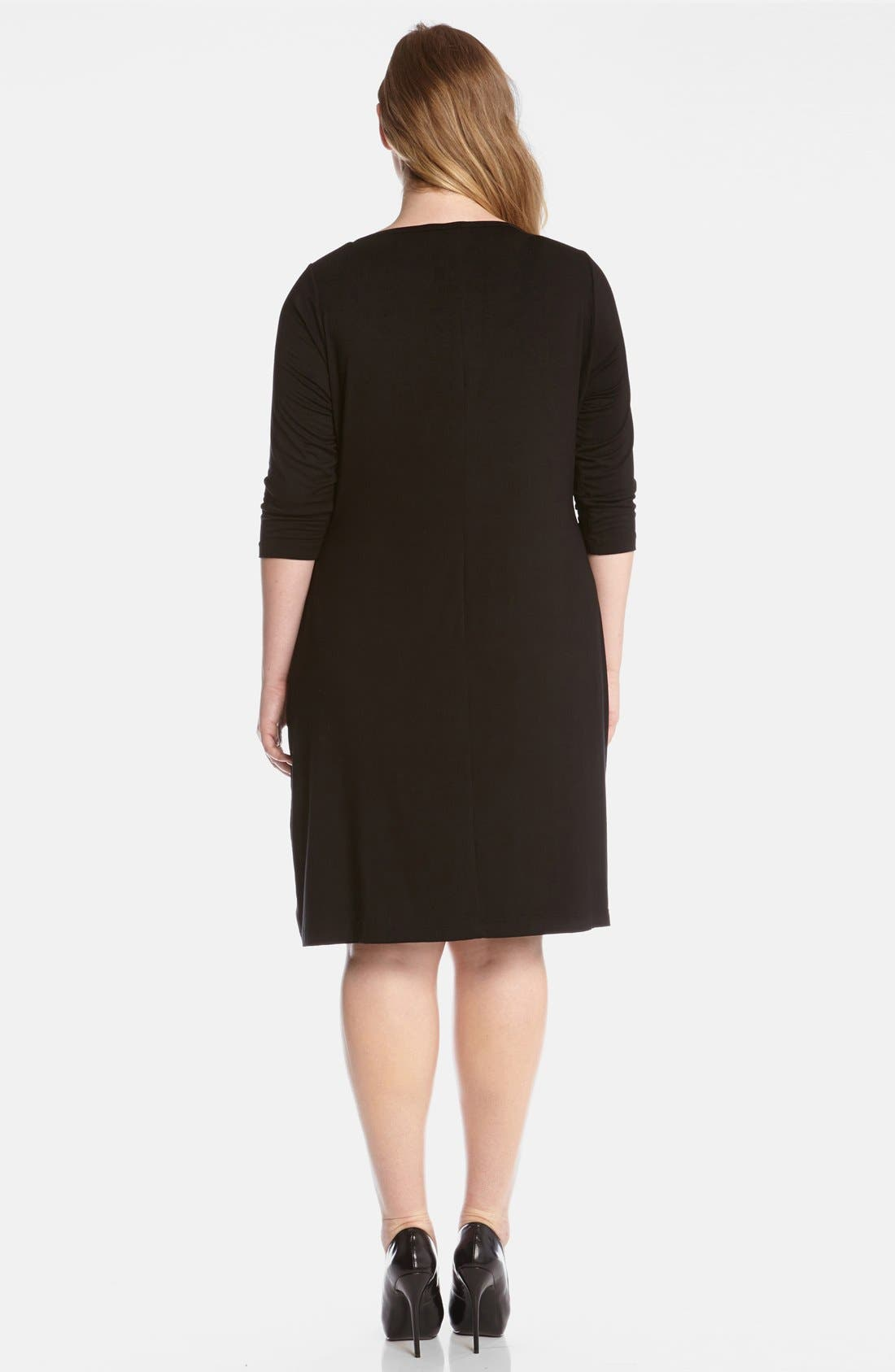 Alternate Image 2  - Karen Kane Jacquard Panel Jersey Shift Dress (Plus Size)