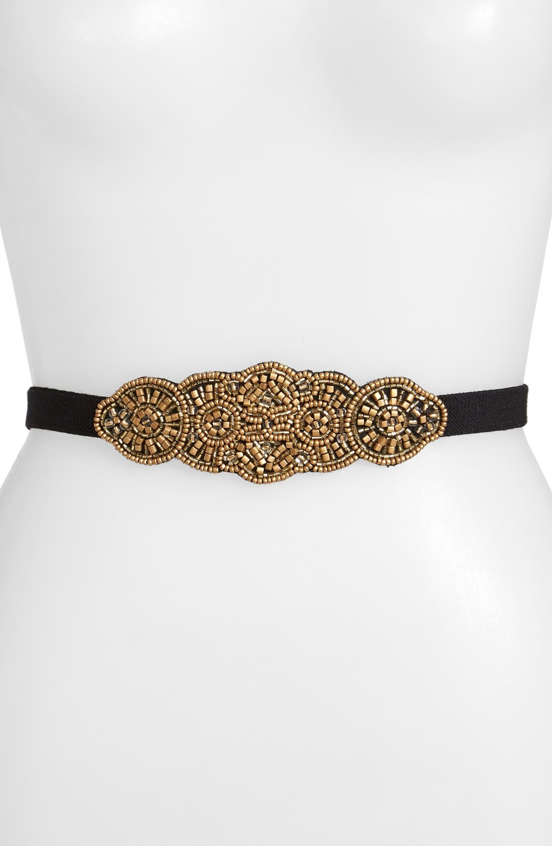 Alternate Image 1 Selected - Glint 'Medallion' Beaded Stretch Belt