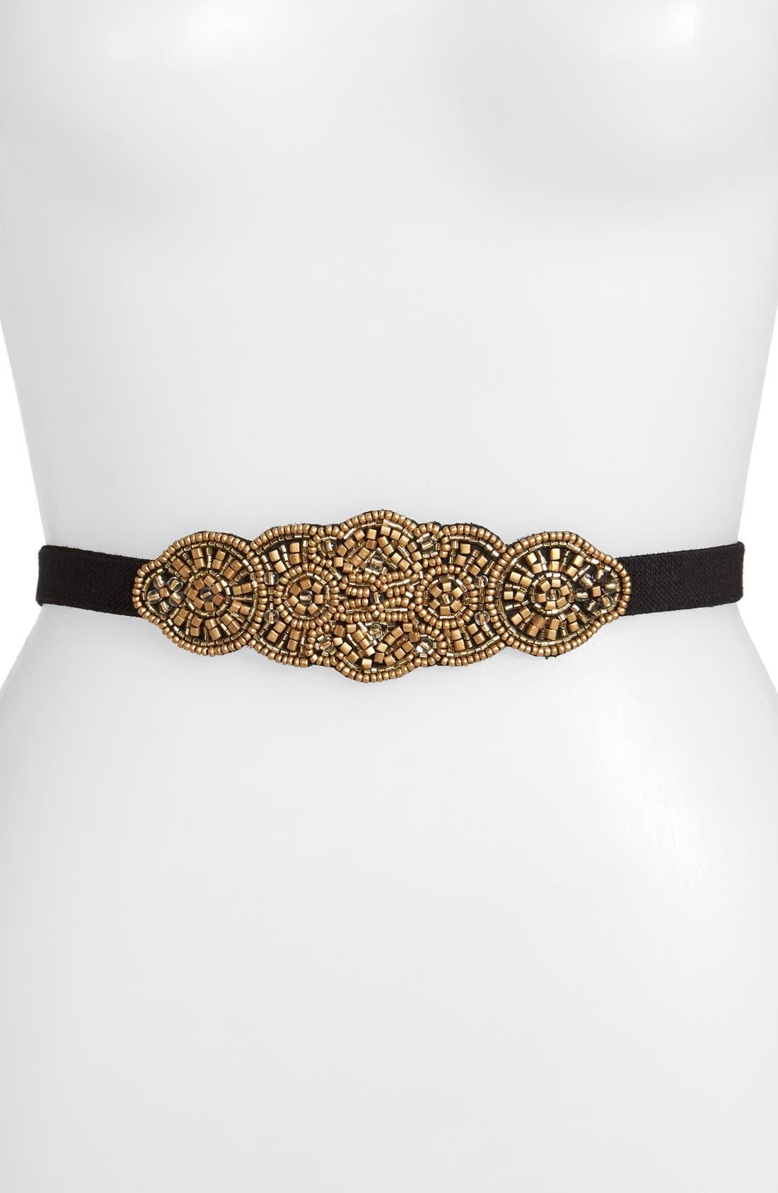 Main Image - Glint 'Medallion' Beaded Stretch Belt