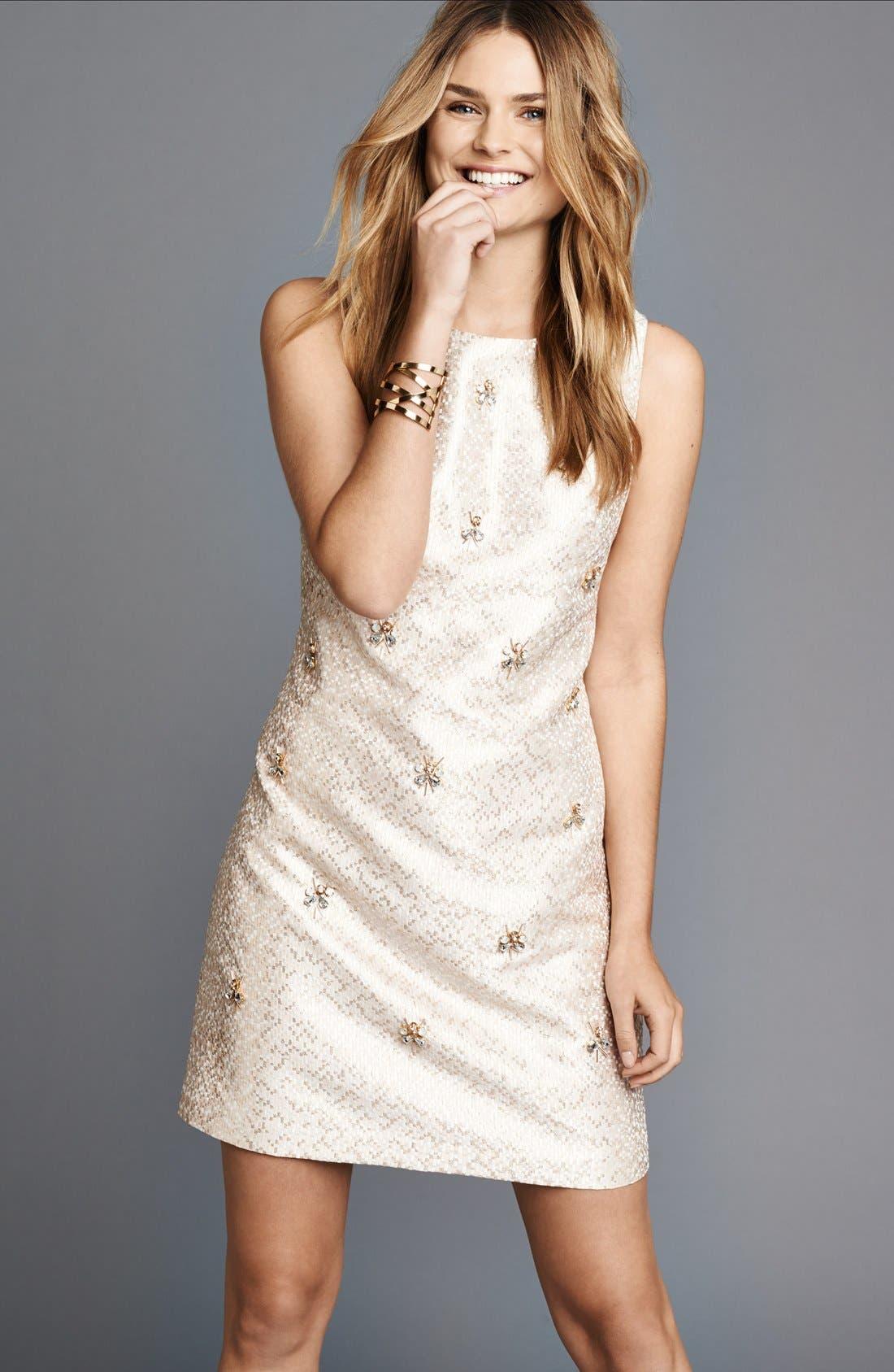 Alternate Image 5  - Eliza J Embellished Jacquard Shift Dress