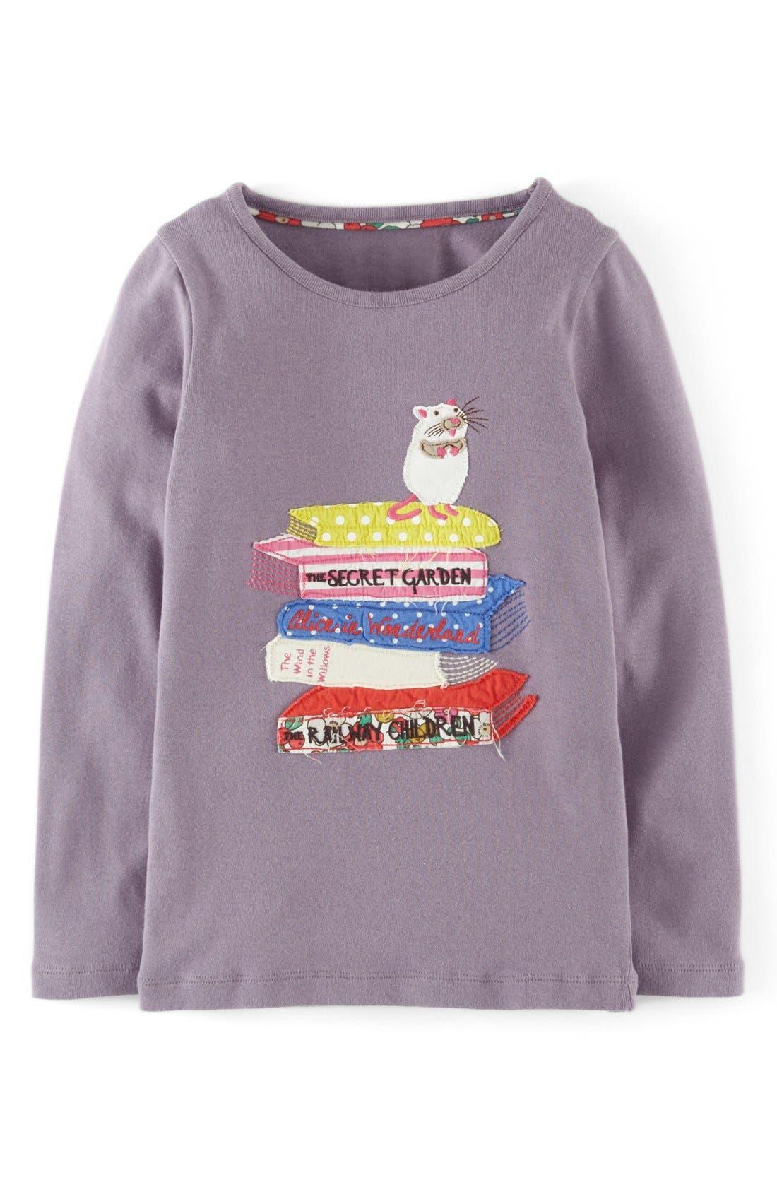 Main Image - Mini Boden Story Book Appliqué Long Sleeve Tee (Toddler Girls, Little Girls & Big Girls)