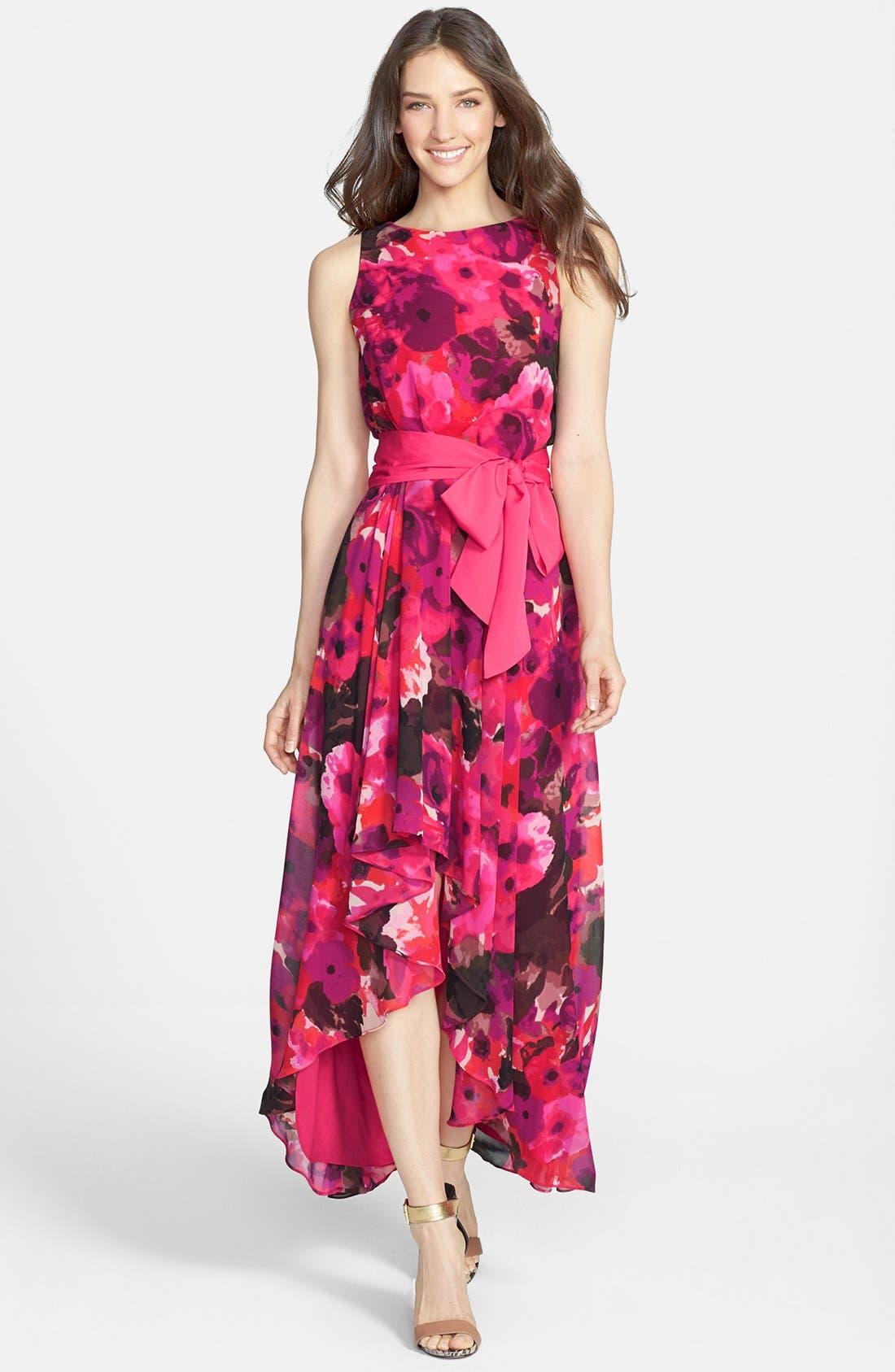 Alternate Image 1 Selected - Eliza J Print High/Low Chiffon Dress