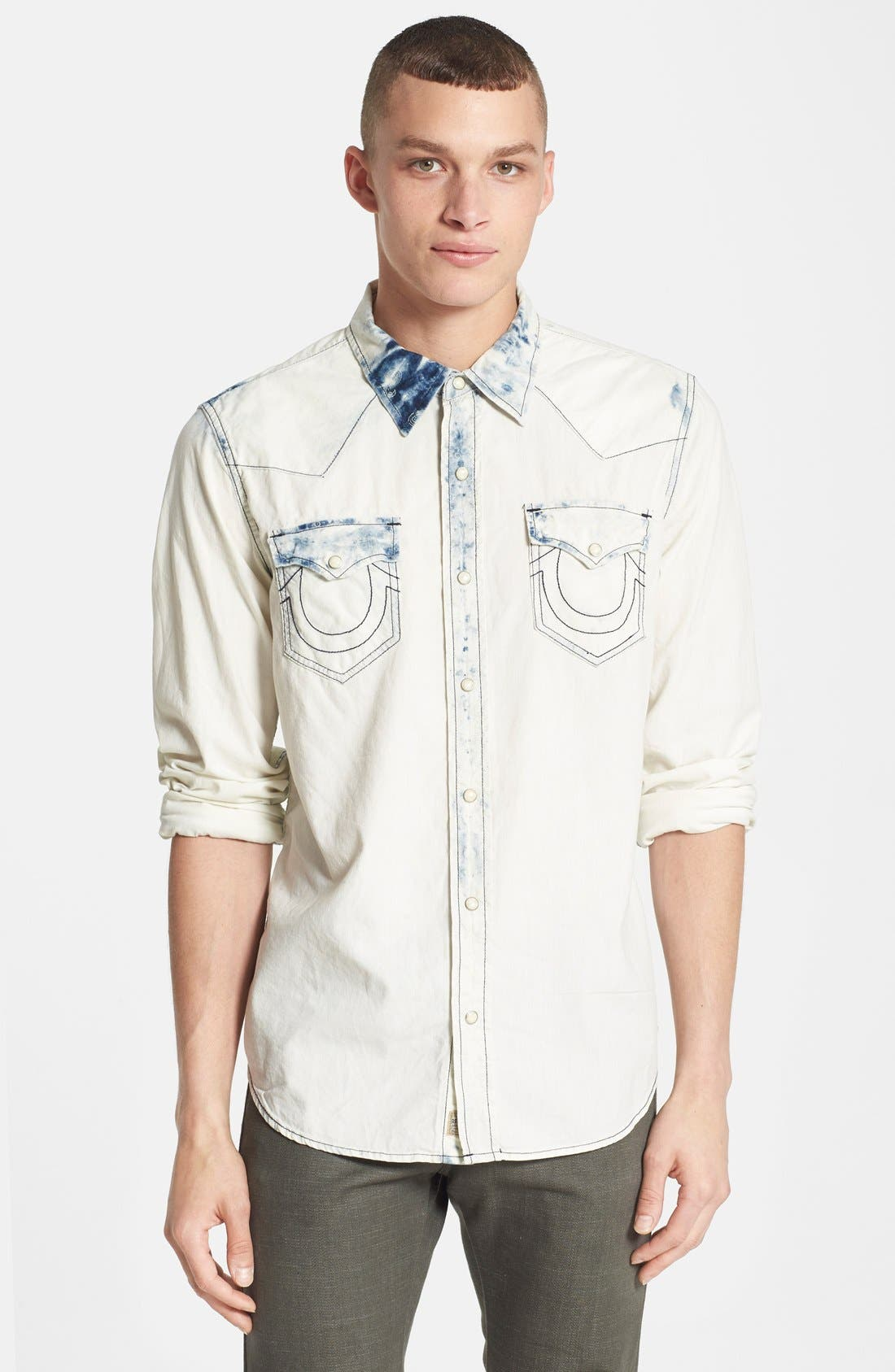 Alternate Image 1 Selected - True Religion Brand Jeans Bleached Western Shirt