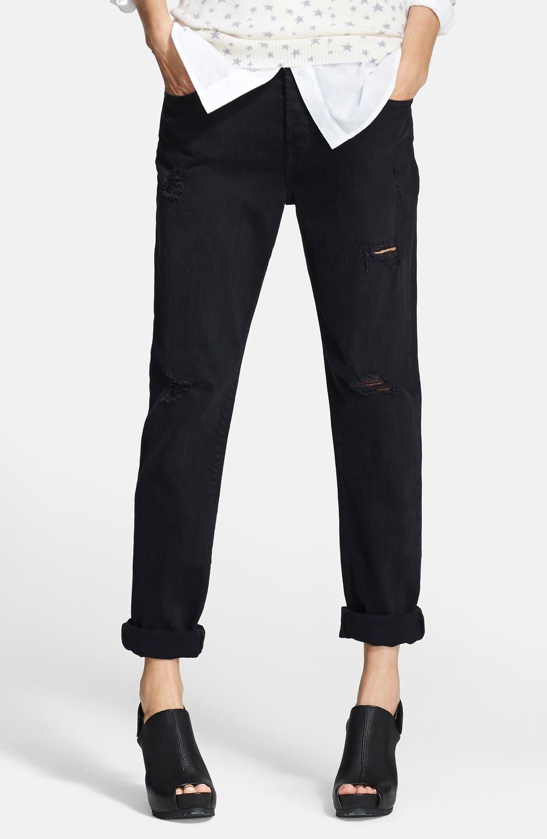 Alternate Image 1 Selected - Current/Elliott 'The Traveler' Boyfriend Jeans (Black Destroy)