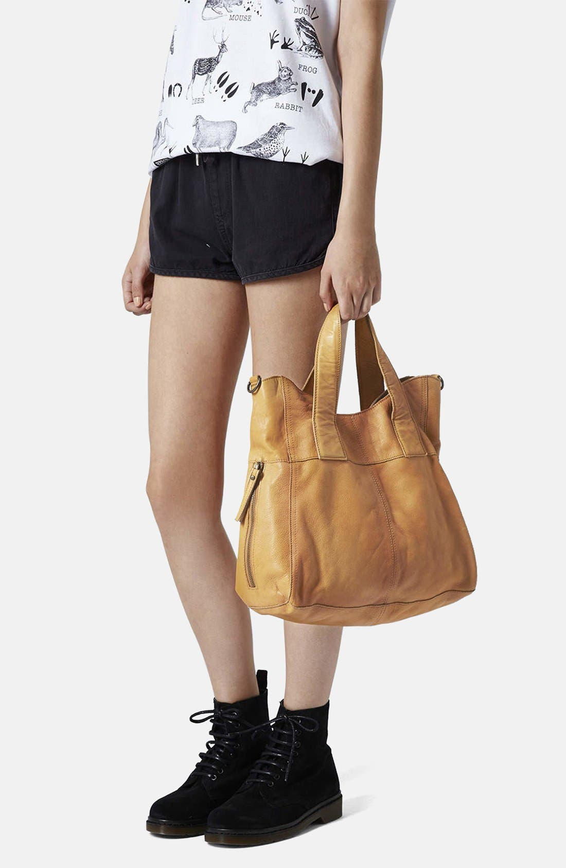 Alternate Image 4  - Topshop 'Alba' Leather Hobo Bag