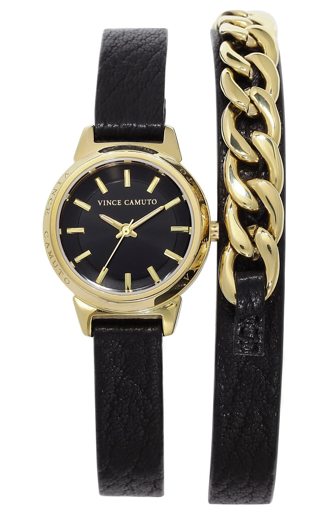 Main Image - Vince Camuto Chain Detail Leather Wrap Watch, 24mm