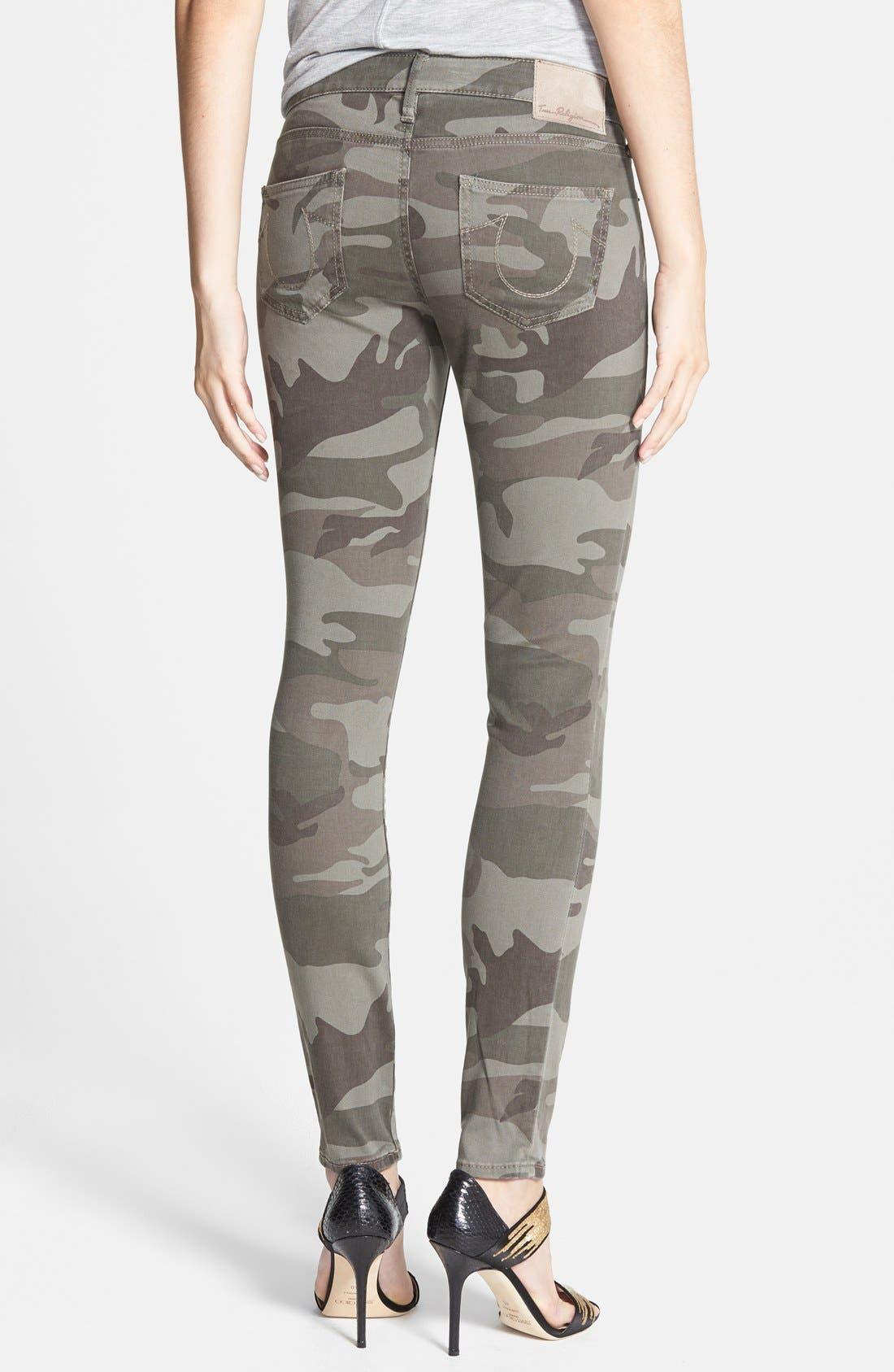 Alternate Image 2  - True Religion Brand Jeans Casey Print Super Skinny Jeans (Olive Camo)