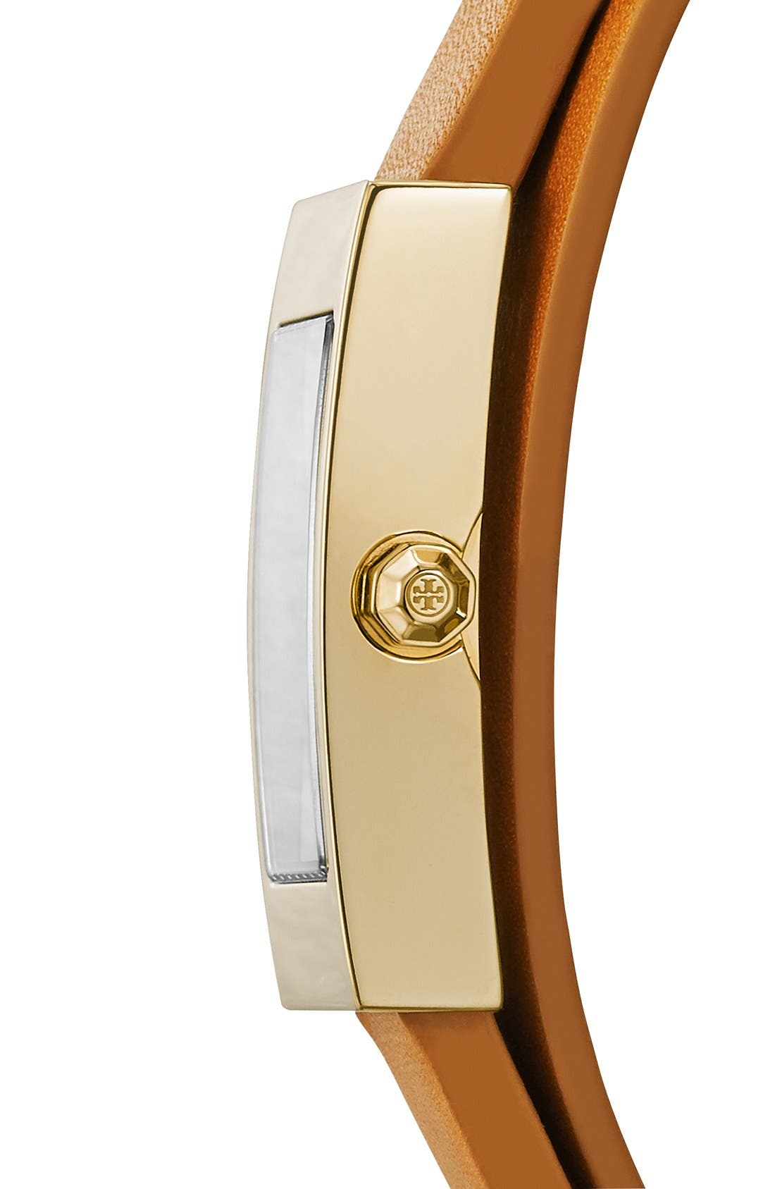 Alternate Image 3  - Tory Burch 'Buddy Signature' Rectangular Wrap Leather Strap Watch, 17mm x 31mm