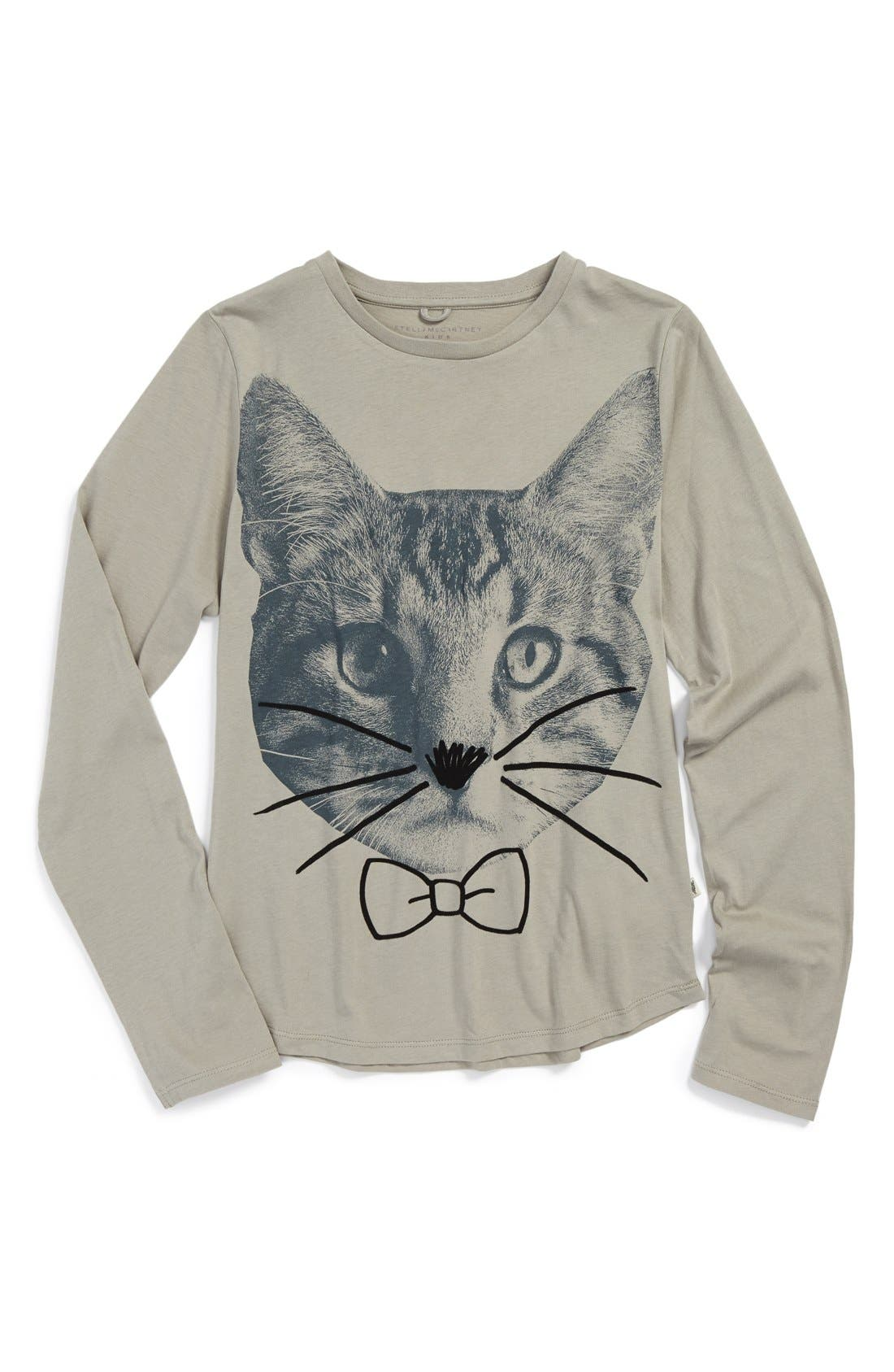 Main Image - Stella McCartney Kids 'Cat' Long Sleeve Tee (Toddler Girls, Little Girls & Big Girls)