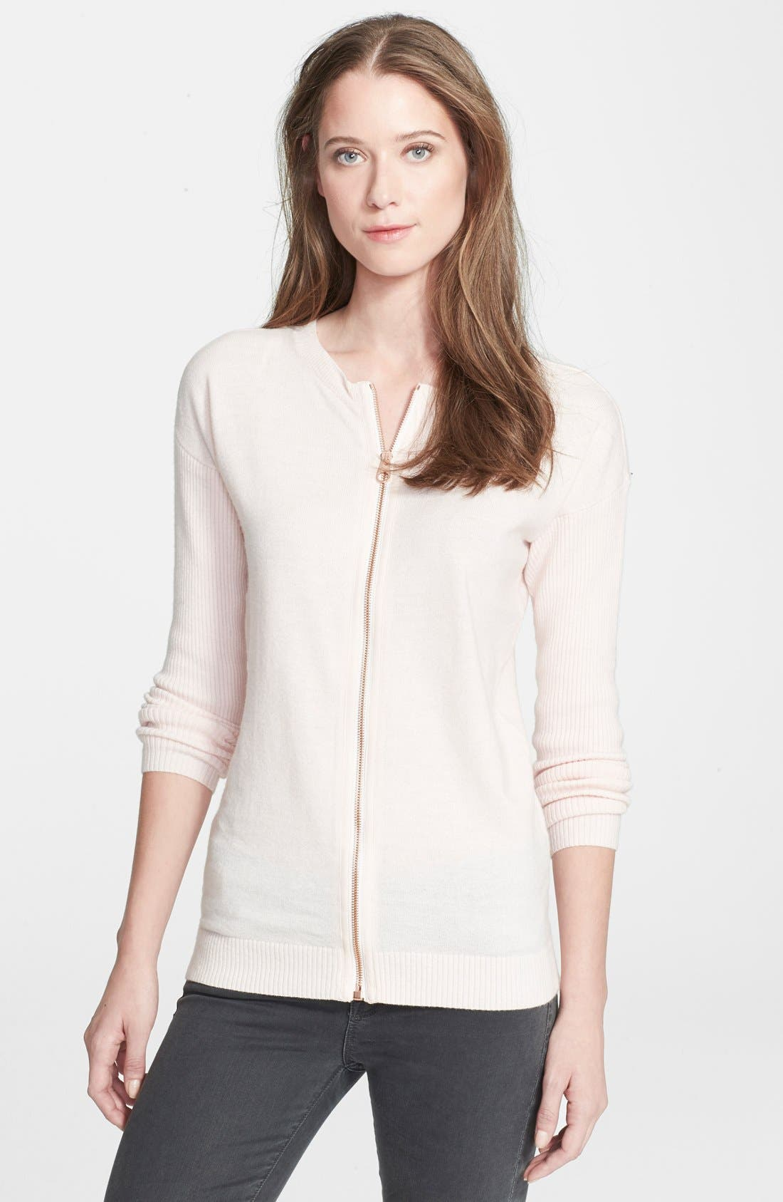 Alternate Image 1 Selected - Ted Baker London 'Violety' Zip Front Sweater