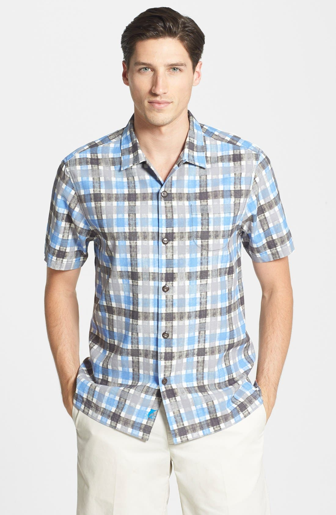 Alternate Image 1 Selected - Tommy Bahama 'Plaid Impressions' Island Modern Fit Silk & Cotton Camp Shirt