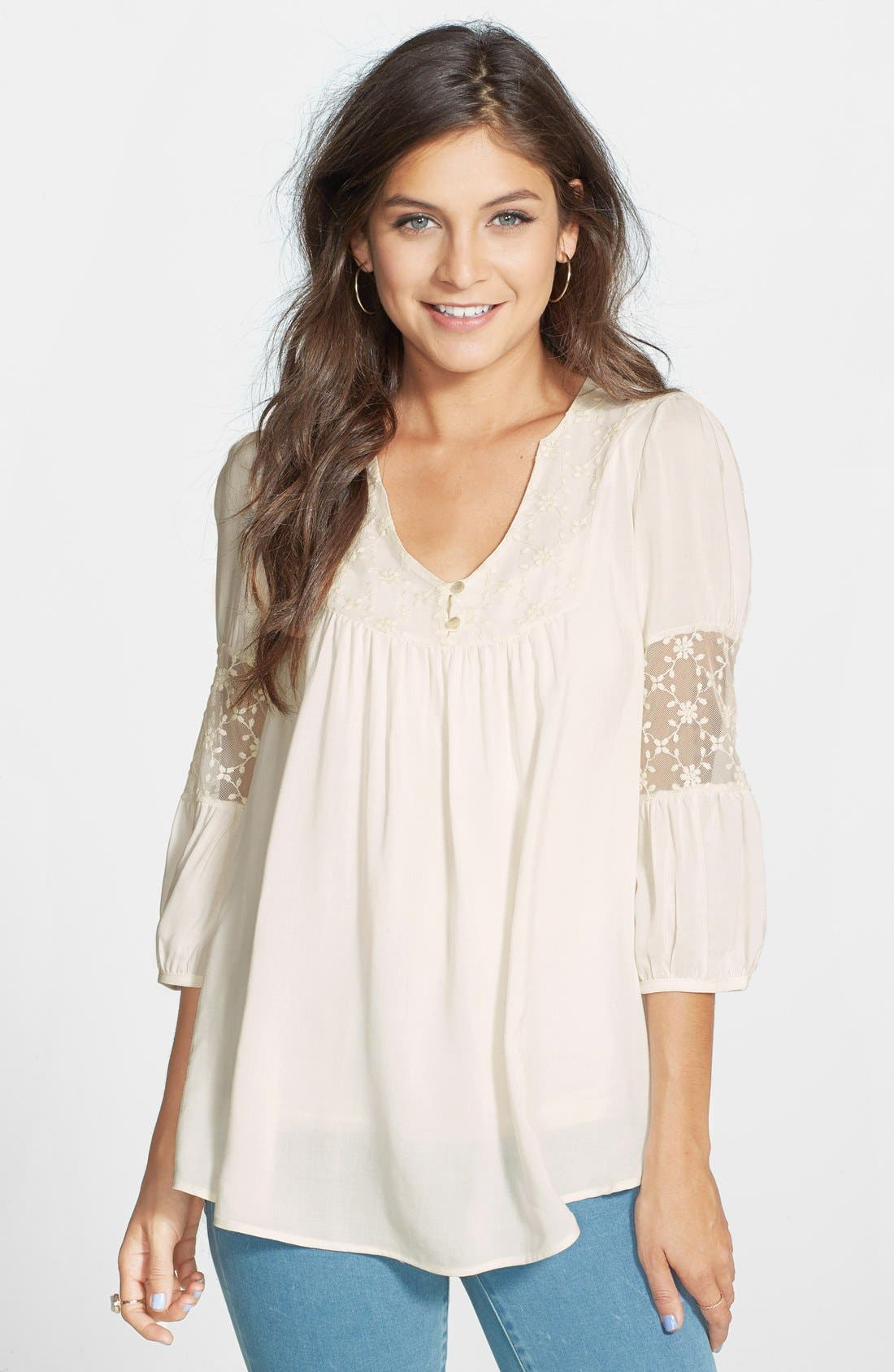 Main Image - Painted Threads Crochet Inset Peasant Top