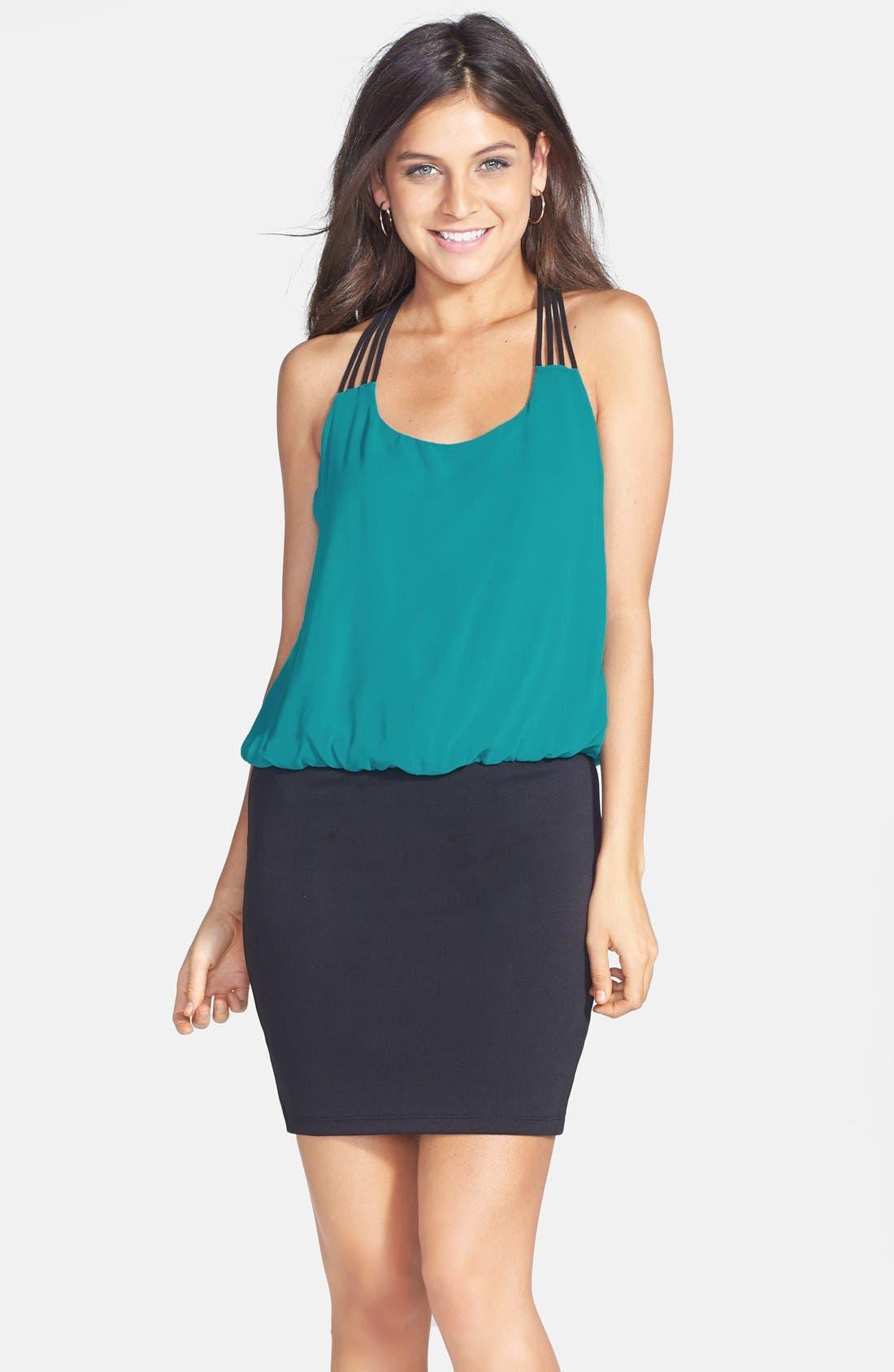 Alternate Image 1 Selected - Trixxi Strap Detail Colorblock Blouson Dress (Juniors)