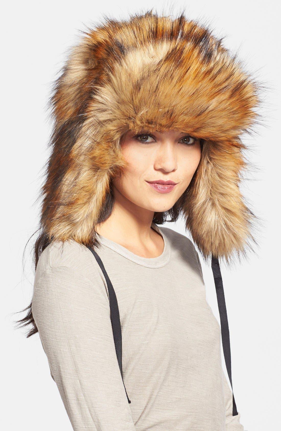 Alternate Image 1 Selected - kate spade new york 'raccoon' faux fur hat