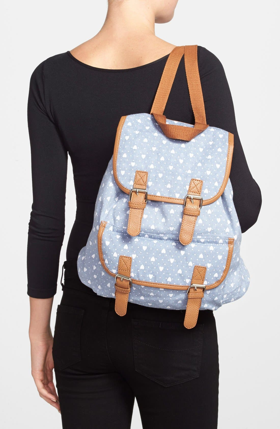 Alternate Image 2  - Amici Accessories Heart Print Backpack (Juniors) (Online Only)