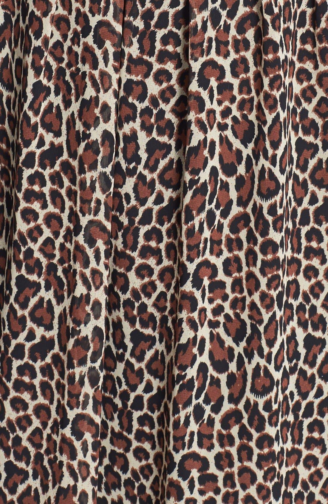 Alternate Image 3  - Two by Vince Camuto Split Neck Leopard Print Shirtdress (Regular & Petite)