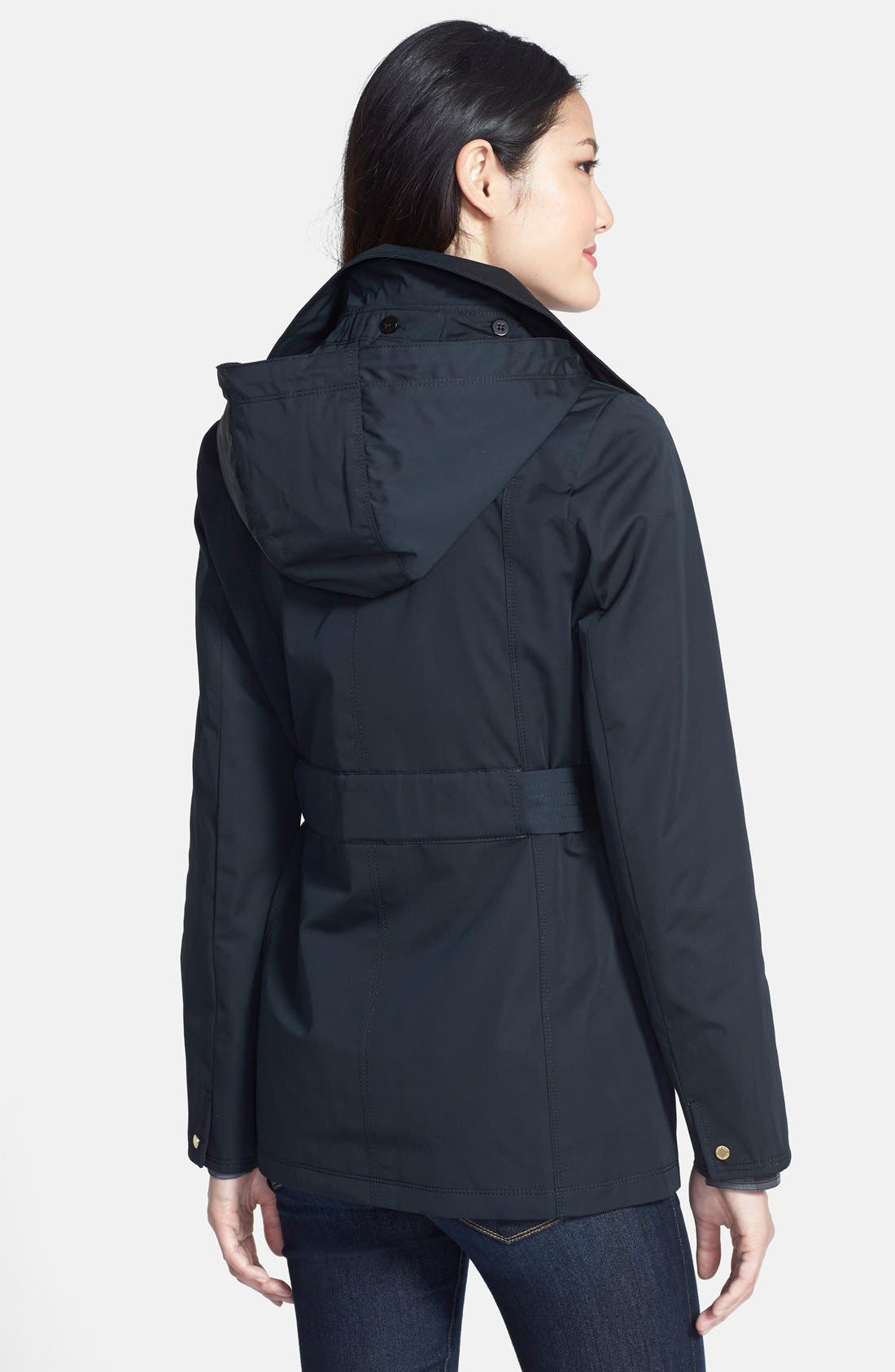 Alternate Image 3  - Ellen Tracy Belted Mini Trench Coat with Detachable Hood (Regular & Petite) (Nordstrom Exclusive)