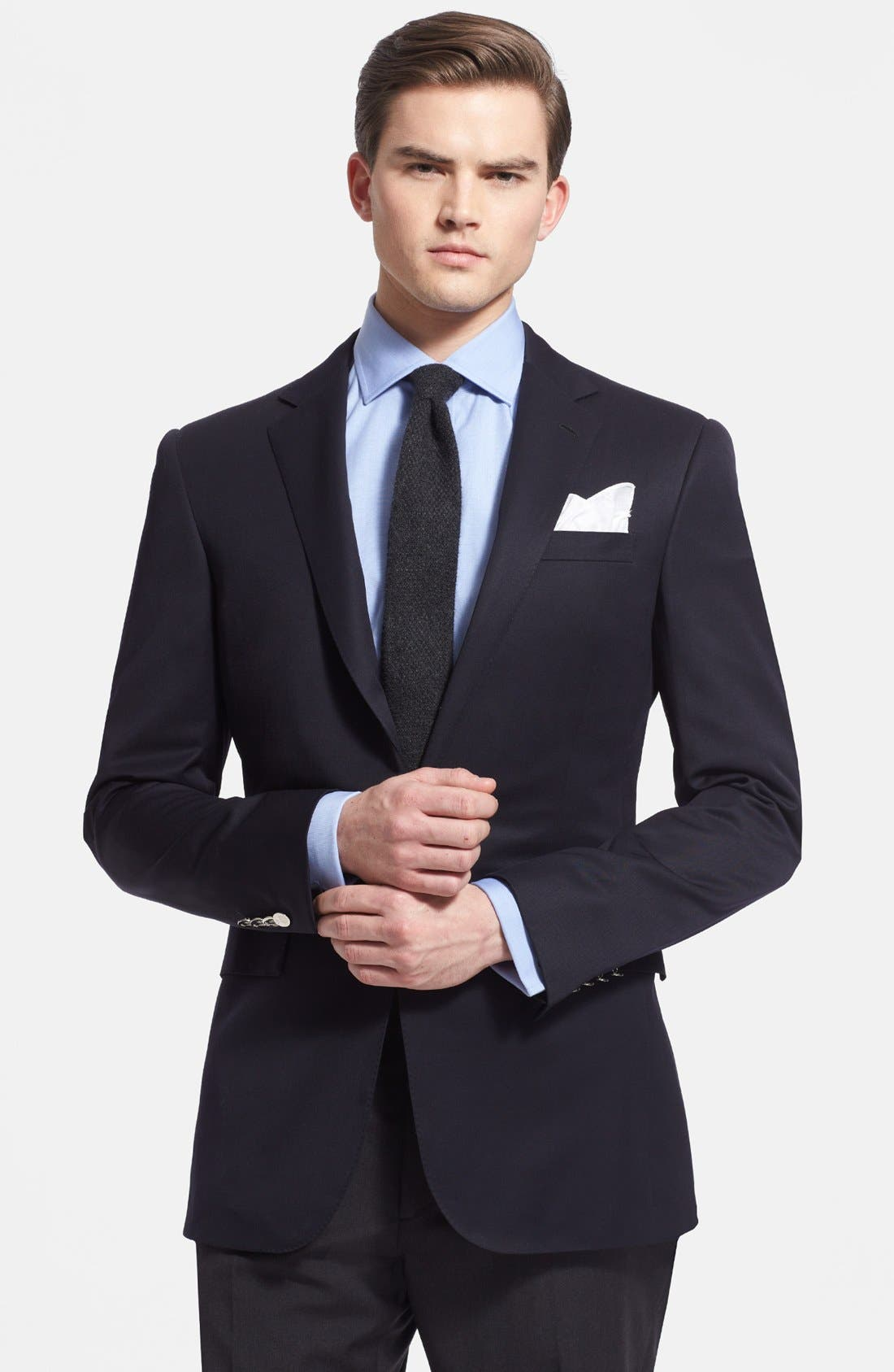 Main Image - Ralph Lauren Black Label Trim Fit Navy Wool Sport Coat