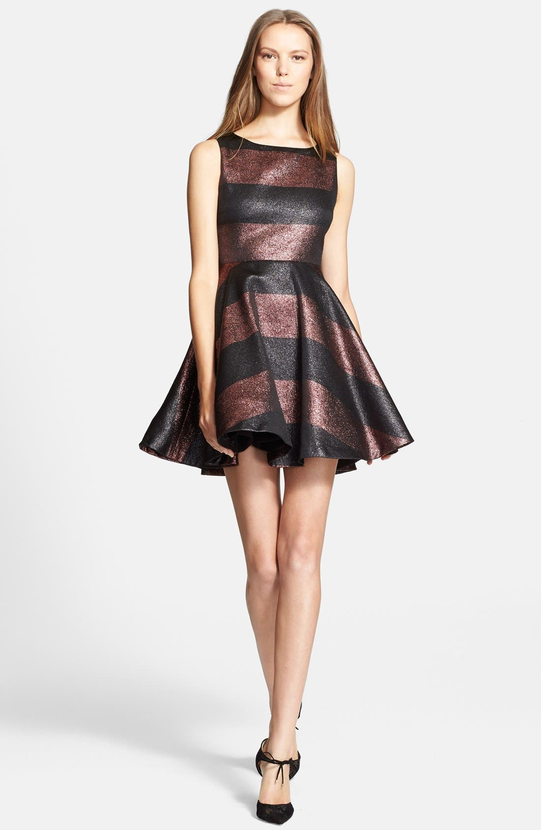 Main Image - Alice + Olivia 'Foss' Metallic Stripe Fit & Flare Dress