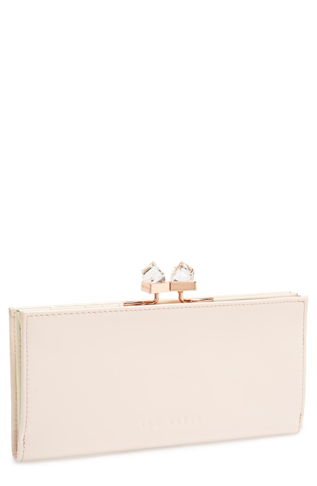 Main Image - Ted Baker London 'Crystal Popper' Patent Leather Matinee Wallet