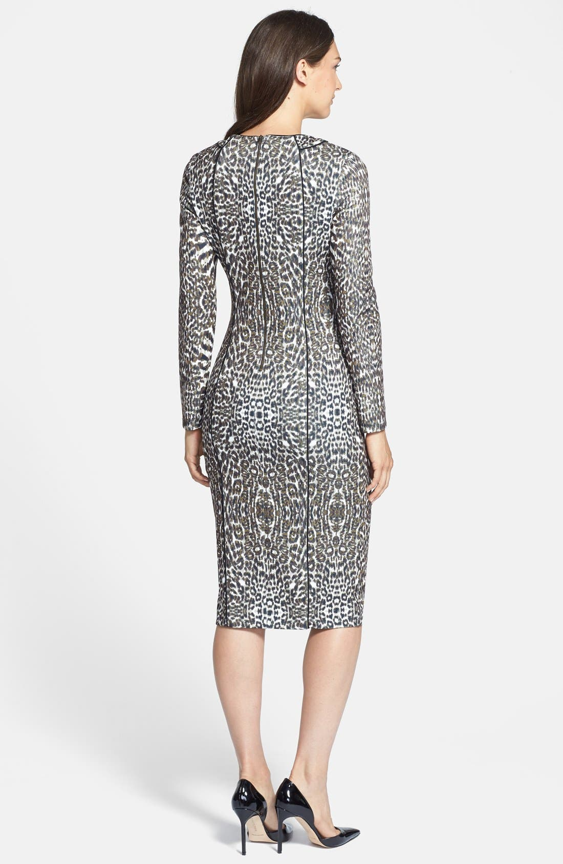 Alternate Image 2  - Maggy London Print Long Sleeve Scuba Sheath Dress