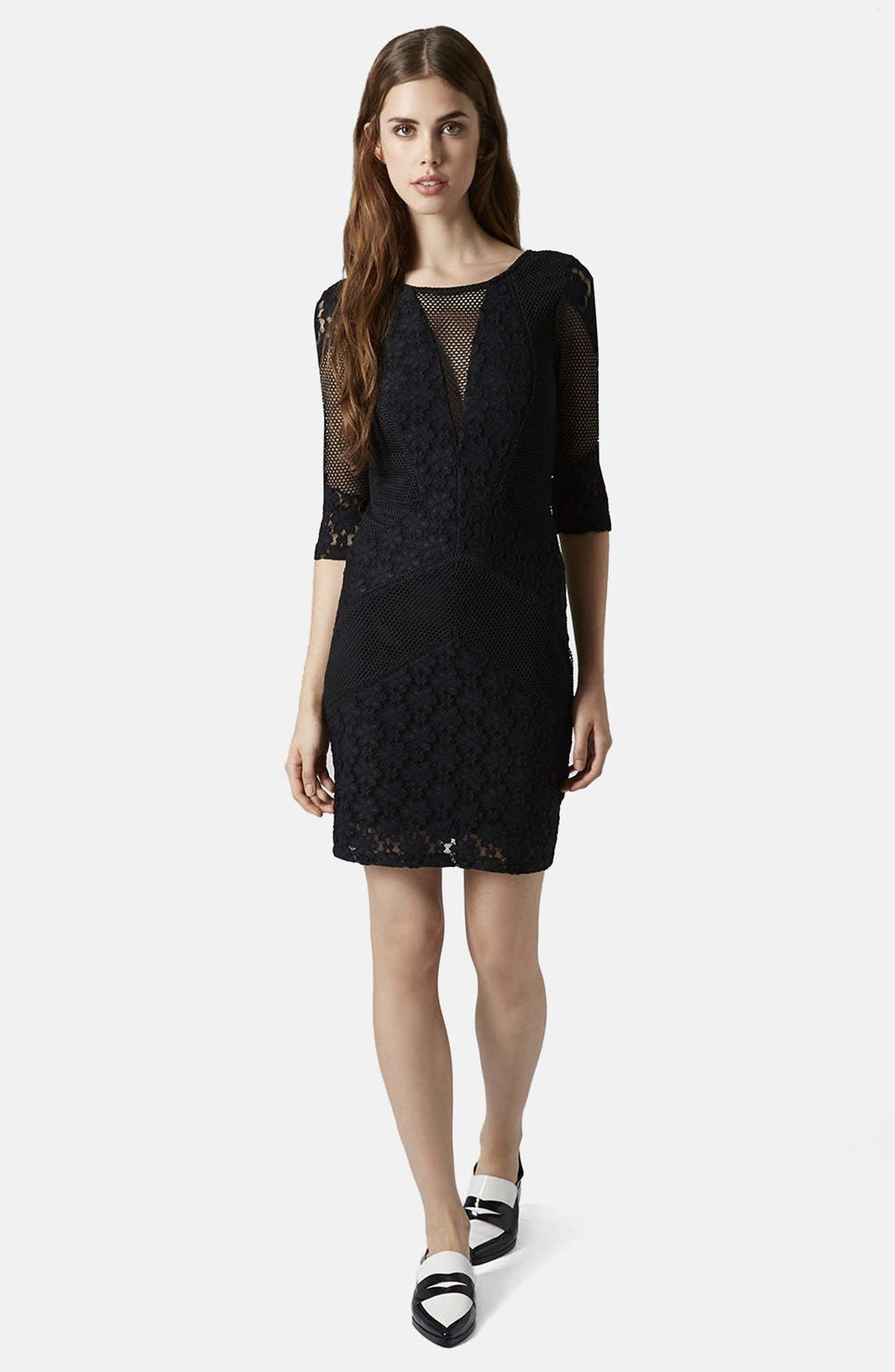 Alternate Image 4  - Topshop Mesh Body-Con Dress