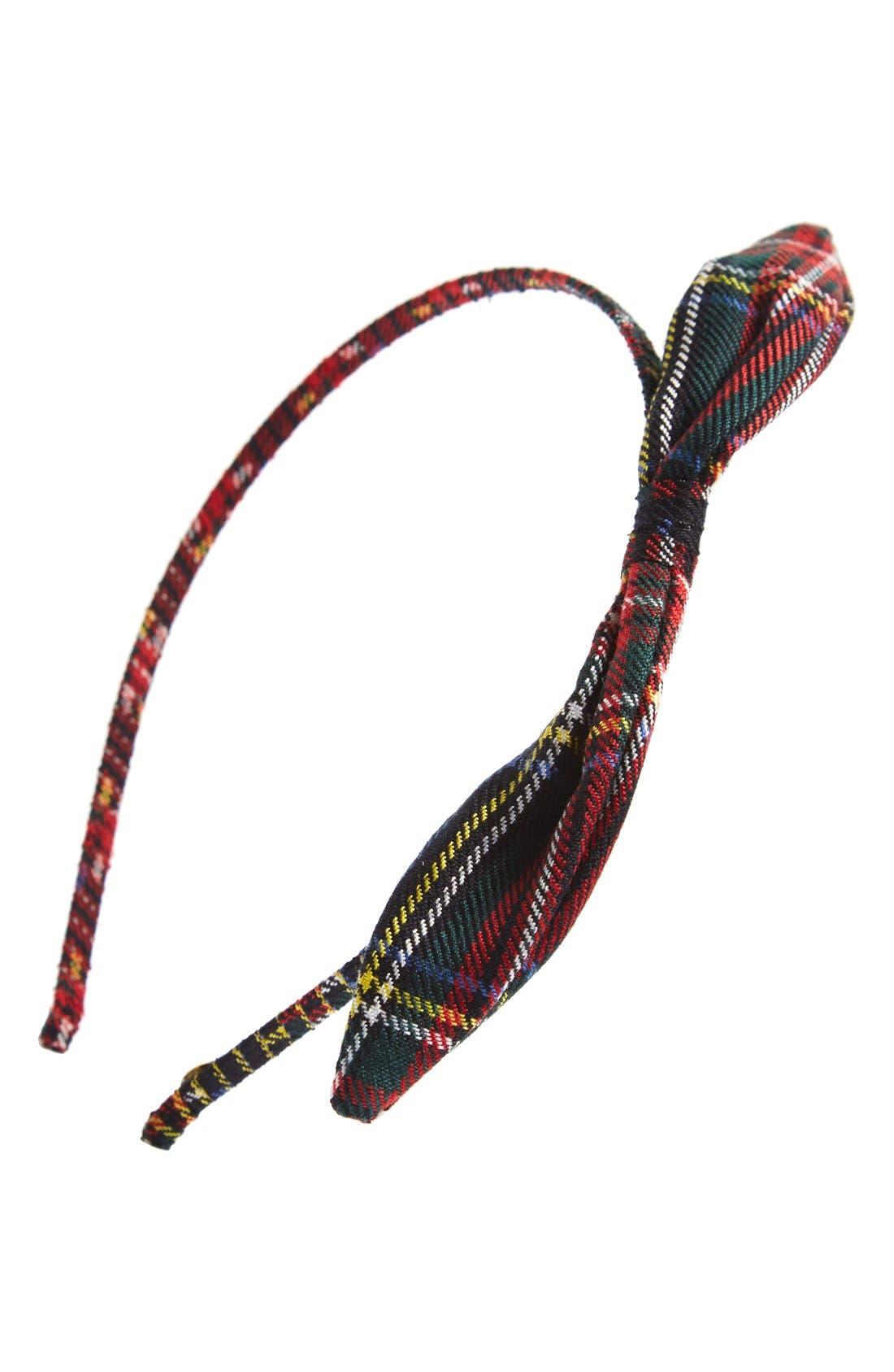 Alternate Image 1 Selected - Cara Plaid Bow Headband (Girls)