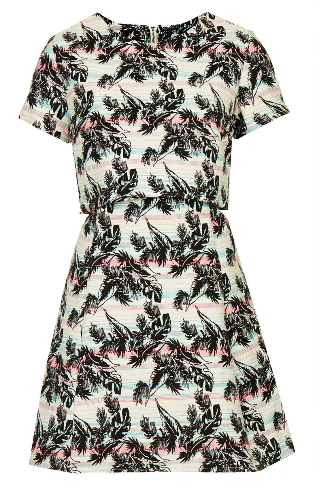 Alternate Image 3  - Topshop Leaf Print Crop Overlay Dress