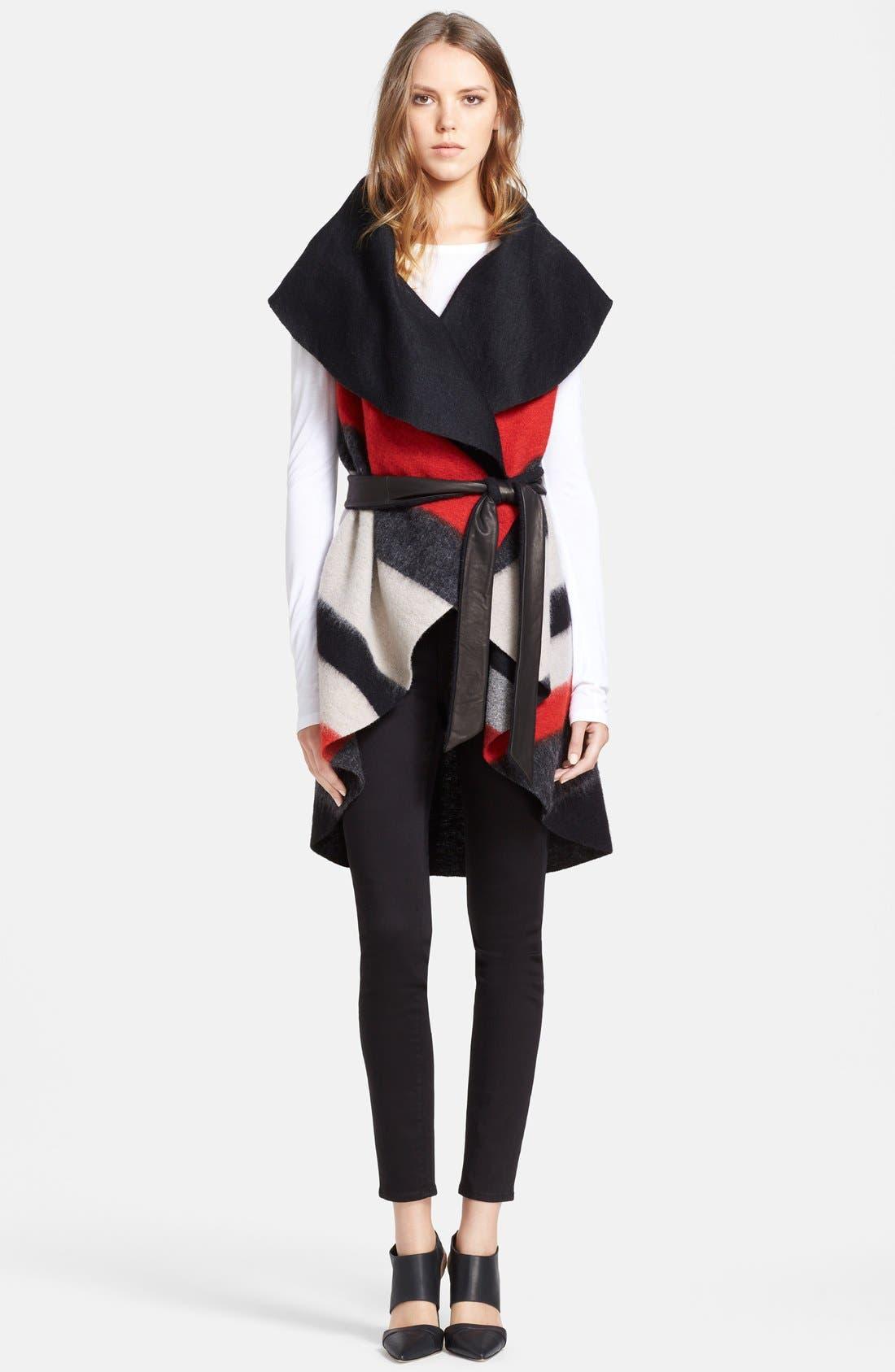 Main Image - Alice + Olivia 'Keira' Sleeveless Wool Blend Wrap with Leather Belt