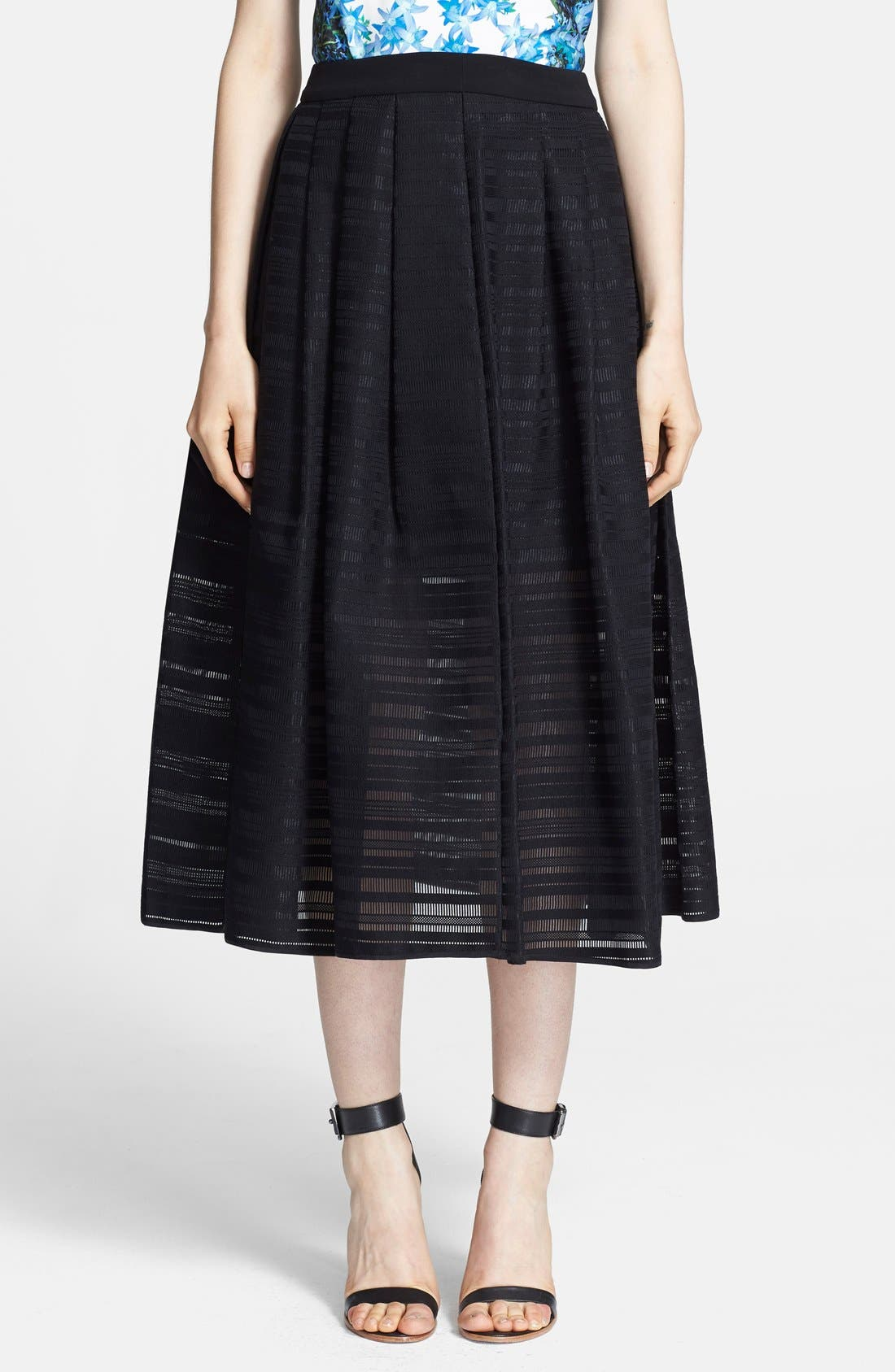 Alternate Image 1 Selected - Tibi Ribbon Stripe Organza Full Midi Skirt
