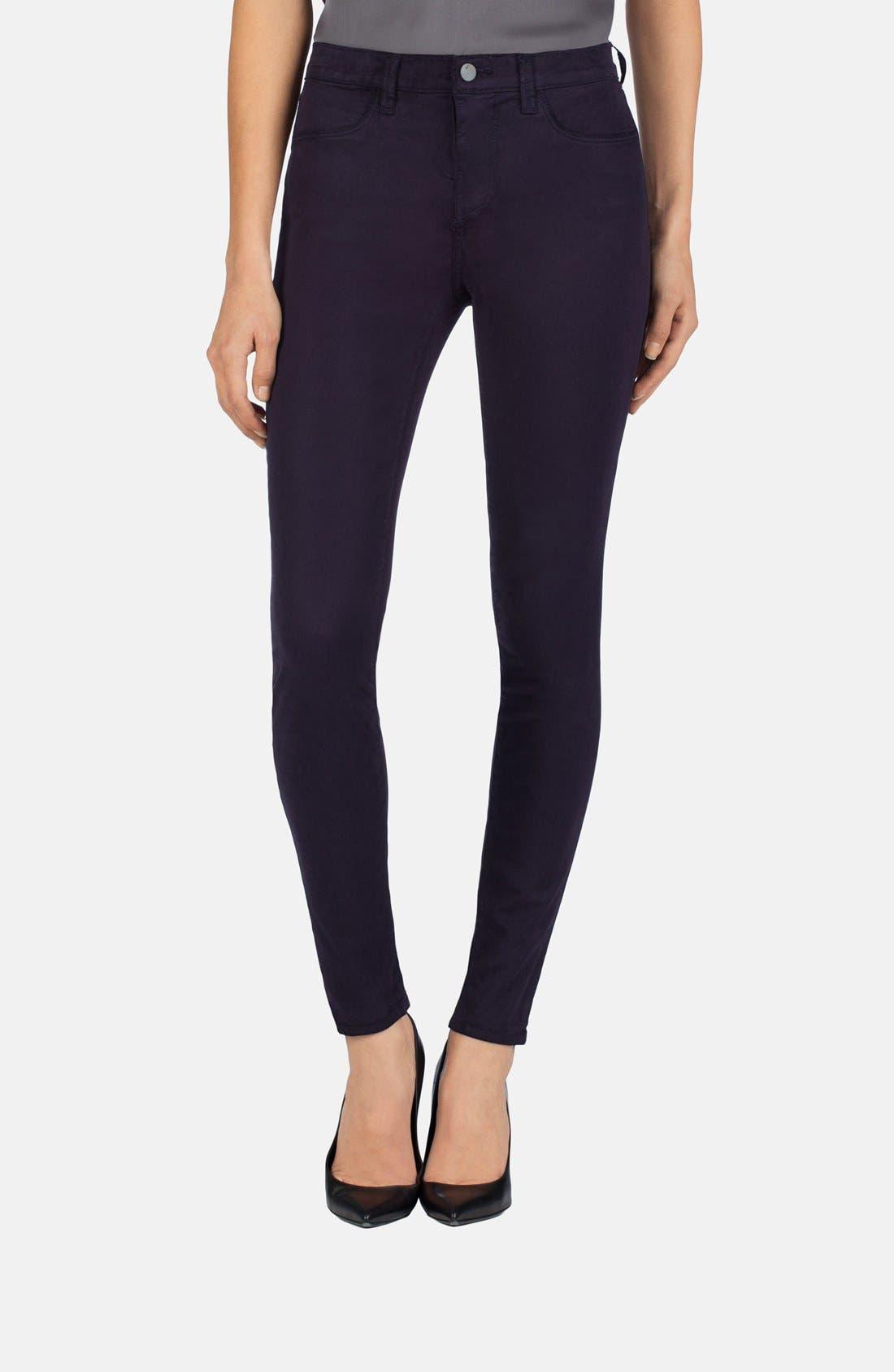 Main Image - J Brand '485' Mid Rise Super Skinny Jeans (Blackberry)