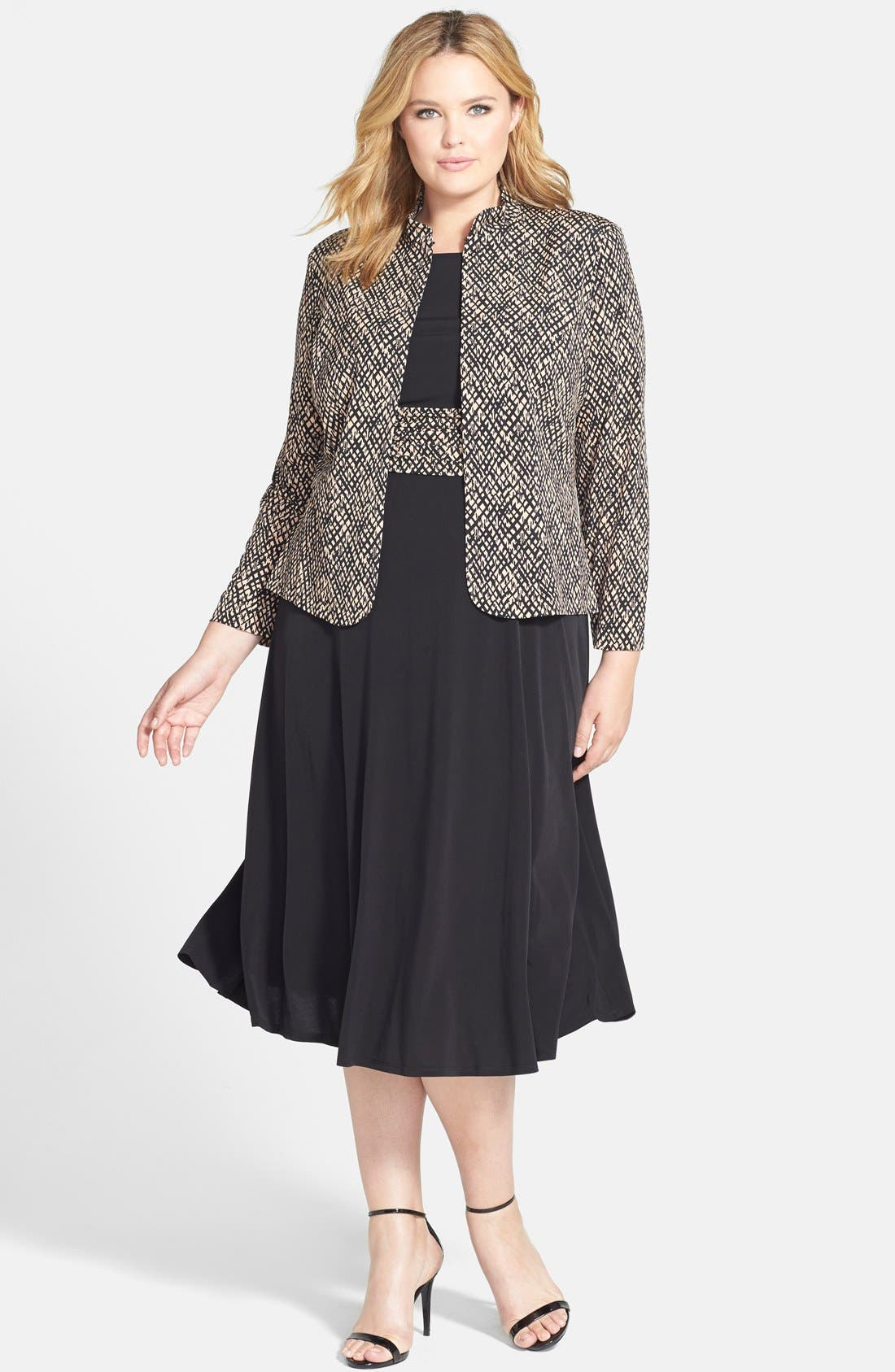 Main Image - Jessica Howard Ruched Waist Dress & Jacket (Plus Size)