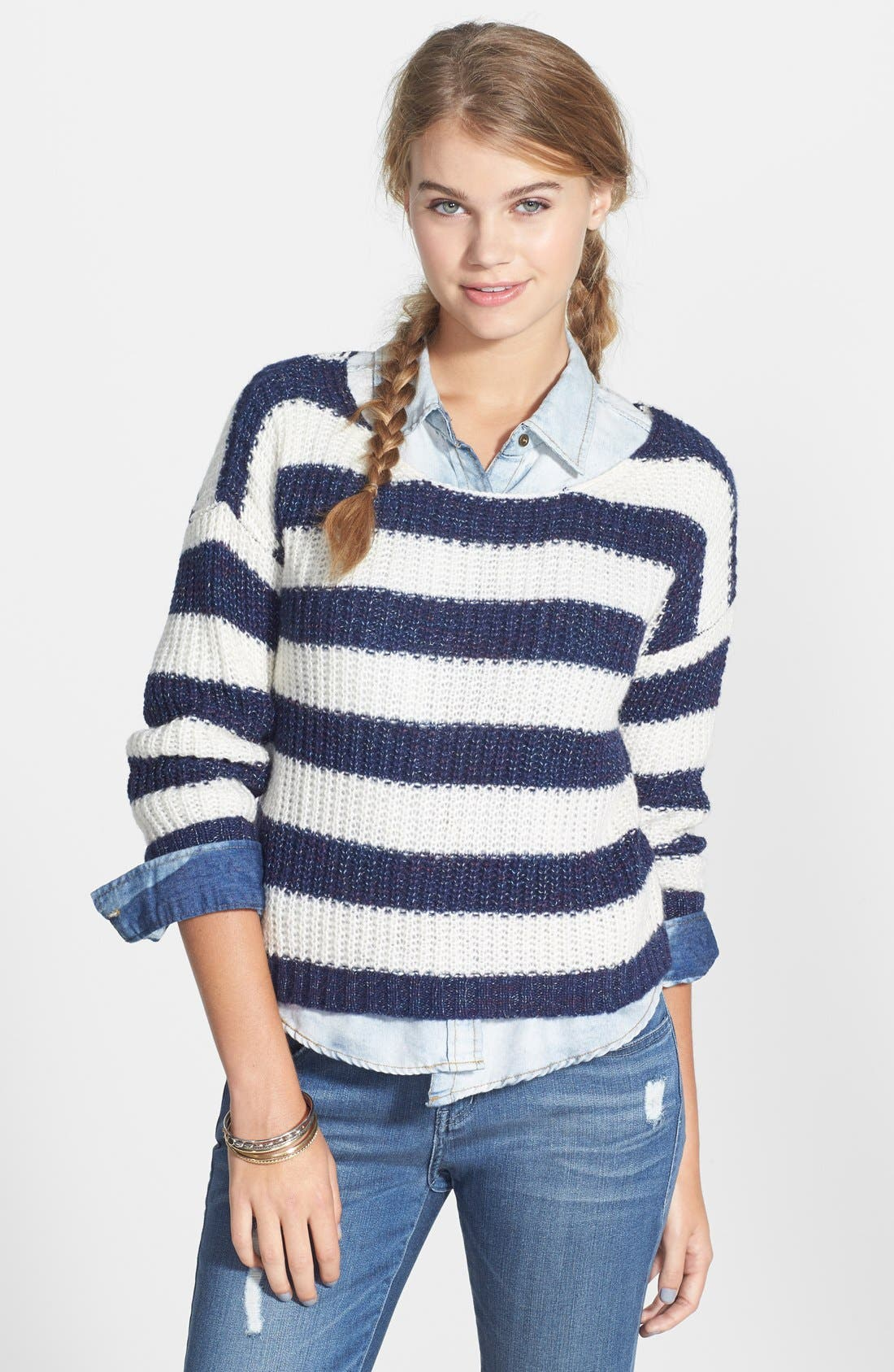 Alternate Image 1 Selected - Love by Design Stripe Ribbed Pullover (Juniors)