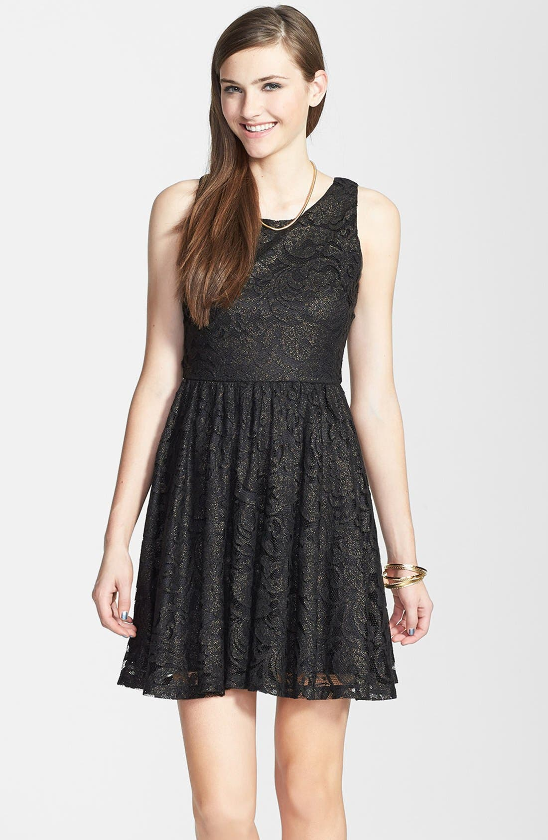 Alternate Image 1 Selected - Soprano Lace Skater Dress (Juniors)