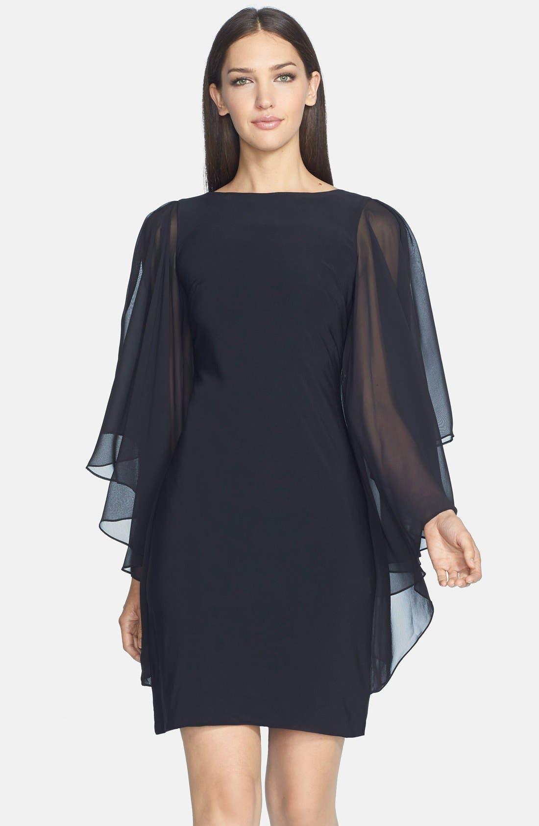 Main Image - JS Boutique Chiffon Butterfly Sleeve Jersey Sheath Dress