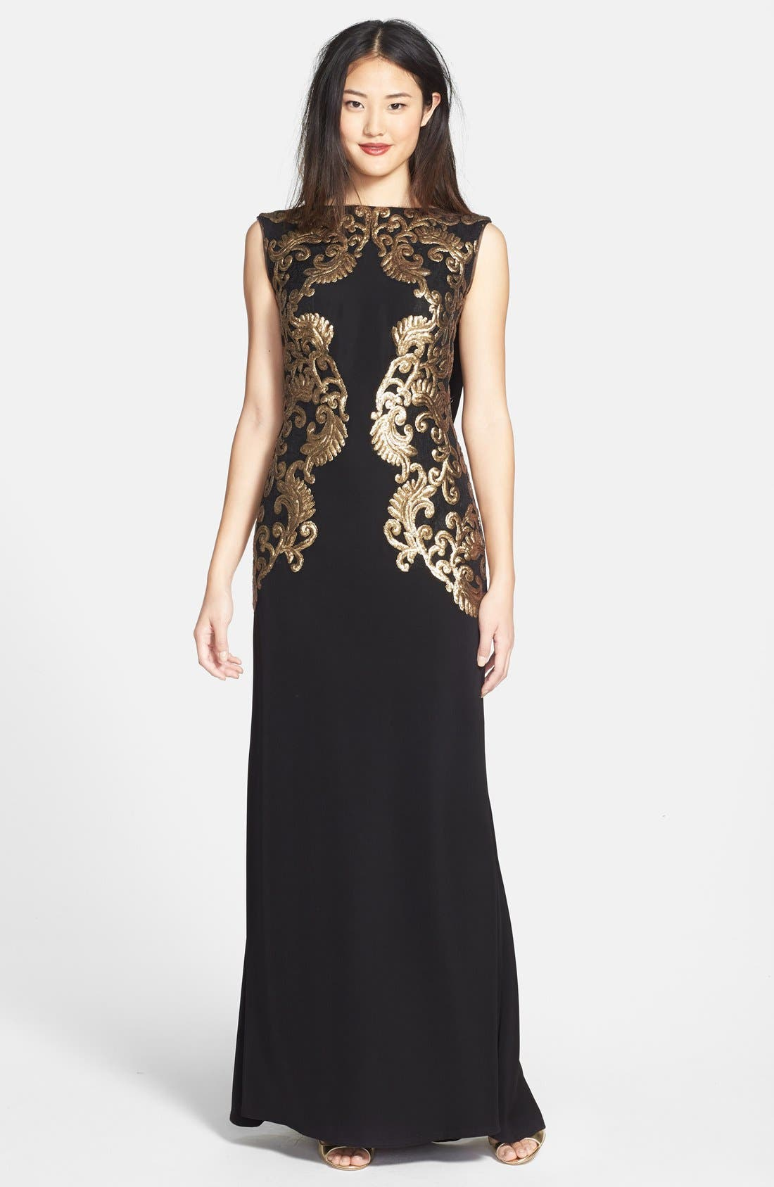 Alternate Image 1 Selected - Tadashi Shoji Sequin Crepe A-Line Gown
