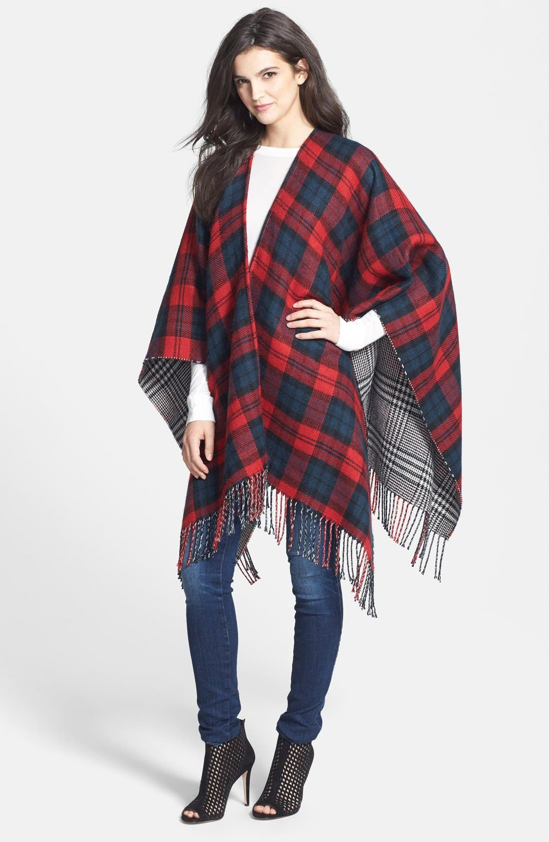 Alternate Image 1 Selected - Accessory Street 'Double Plaid' Reversible Ruana