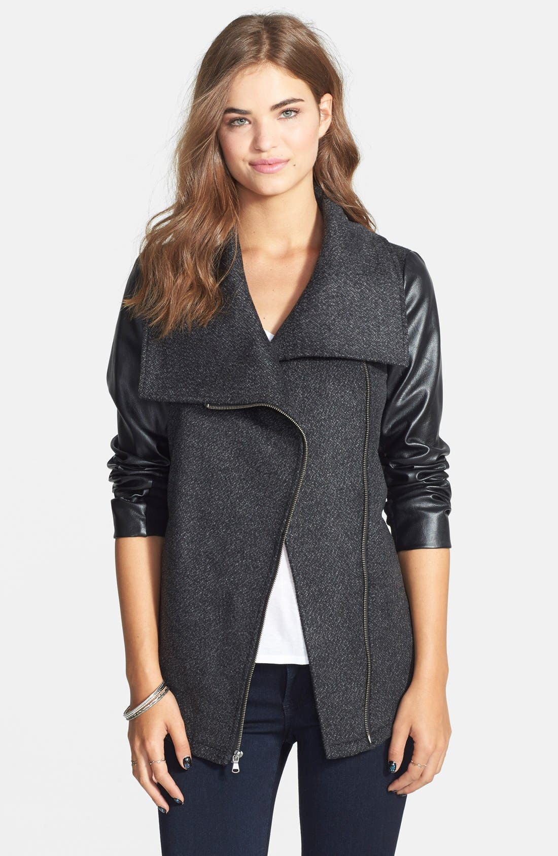 Alternate Image 1 Selected - Celebrity Pink Asymmetrical Front Mixed Media Jacket (Juniors)